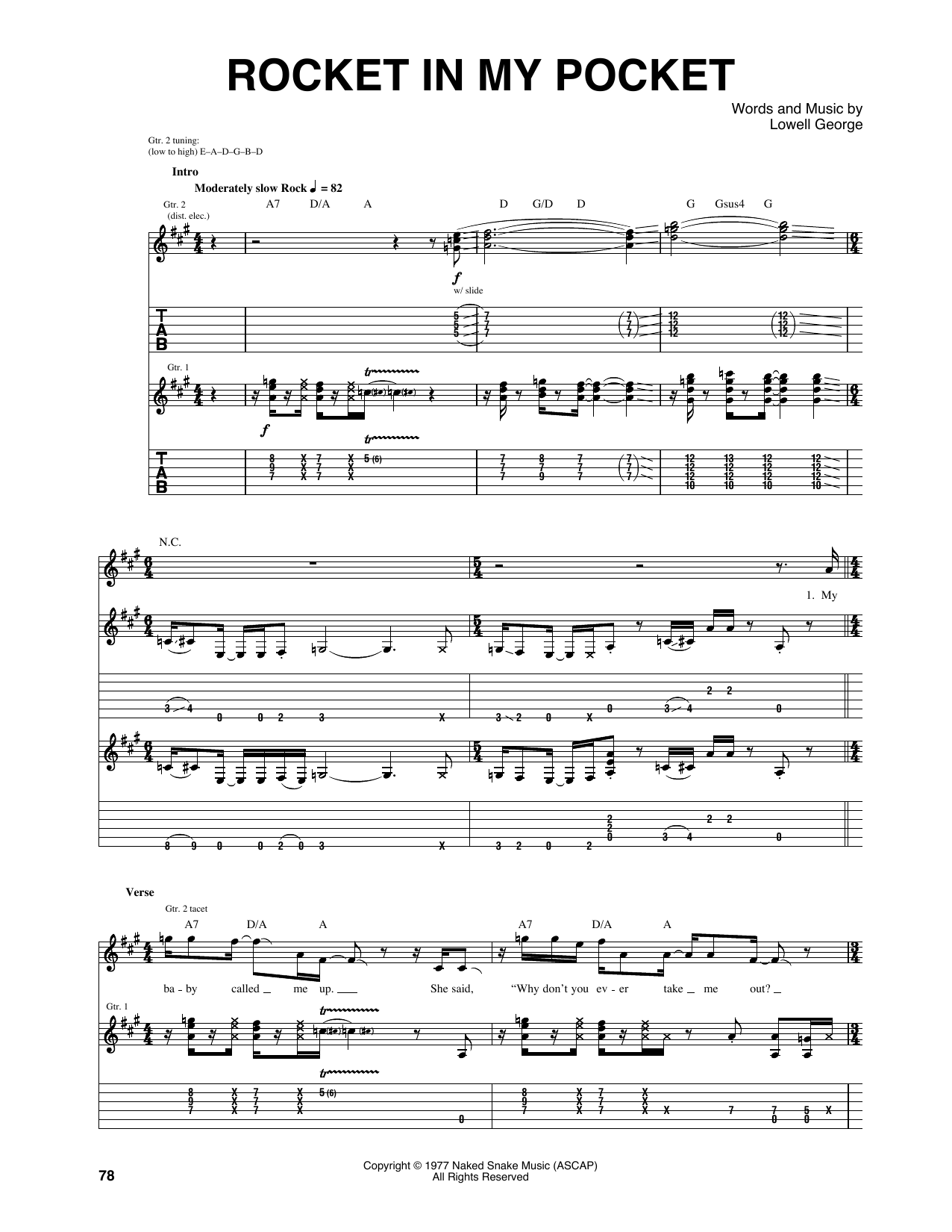 Rocket in my pocket guitar tab by little feat guitar tab 160169 rocket in my pocket sheet music hexwebz Choice Image