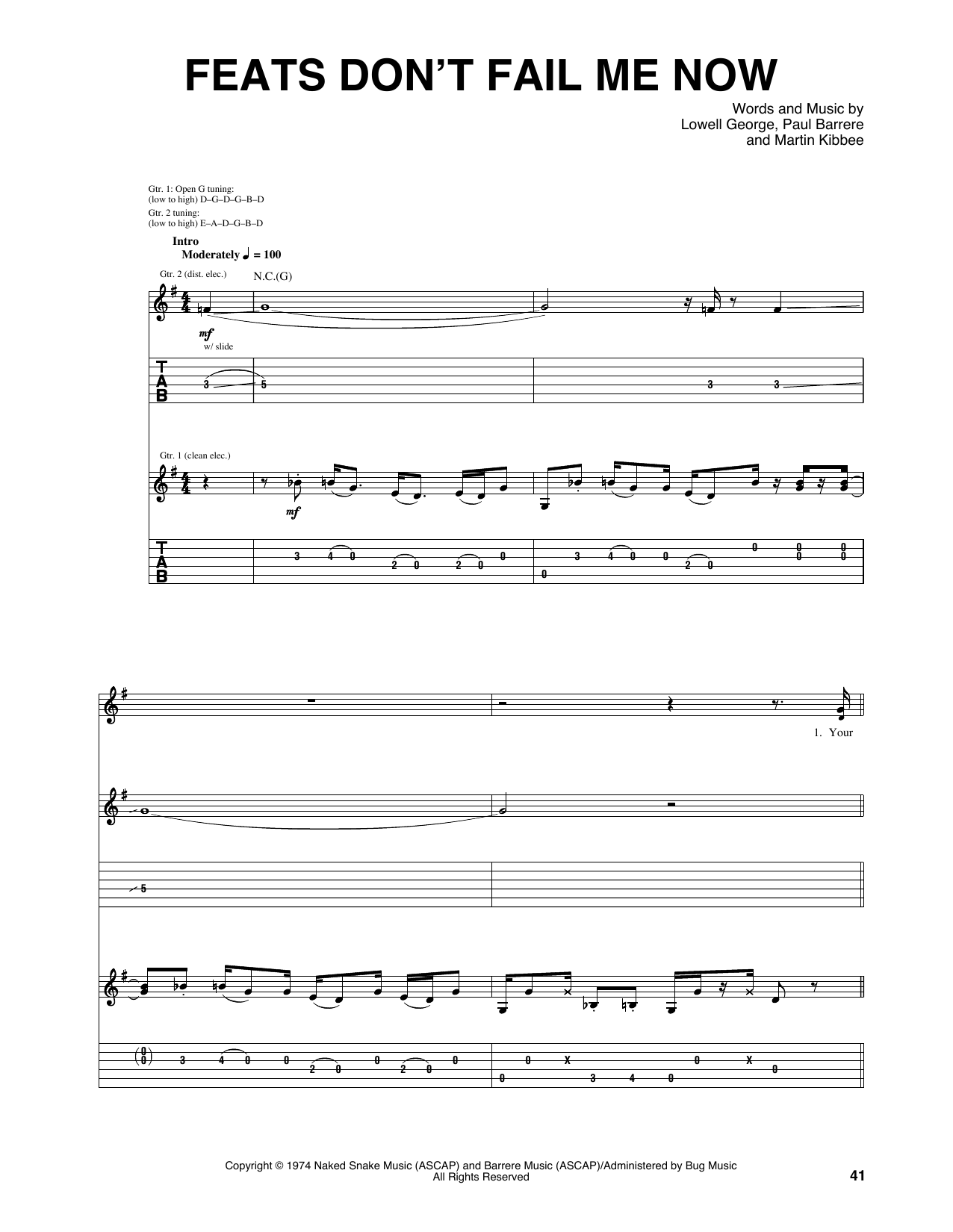 Feats Don't Fail Me Now (Guitar Tab)