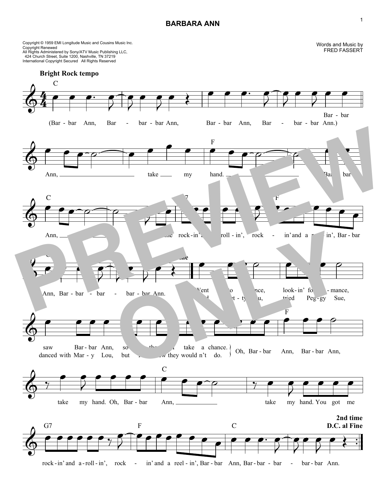 Barbara Ann (Lead Sheet / Fake Book)