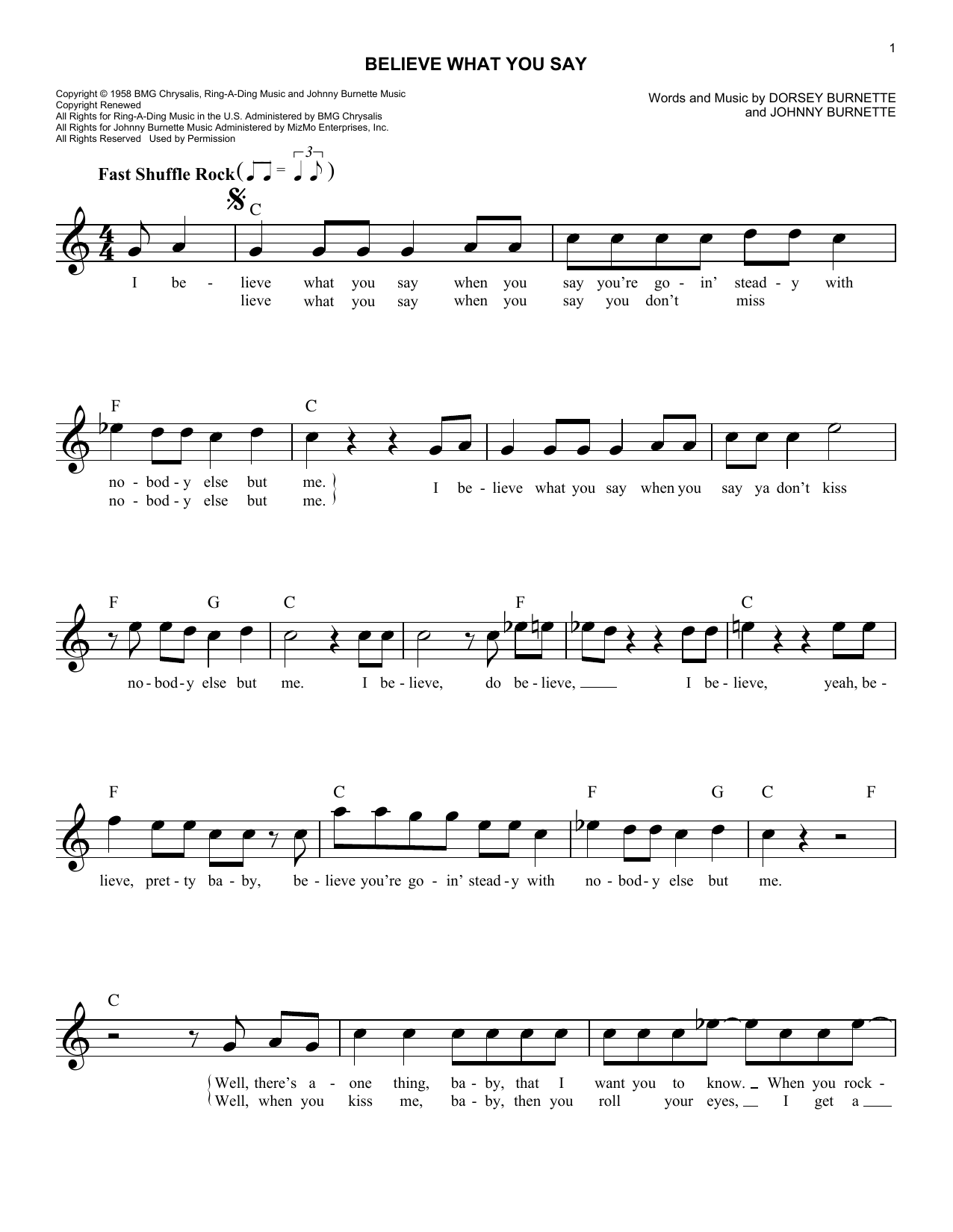 Believe What You Say (Lead Sheet / Fake Book)