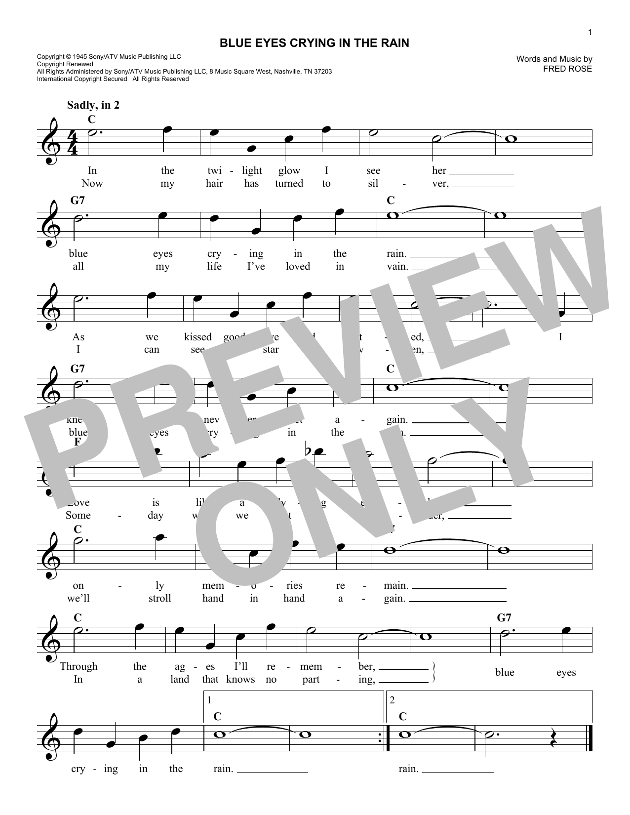 Blue Eyes Crying In The Rain (Lead Sheet / Fake Book)