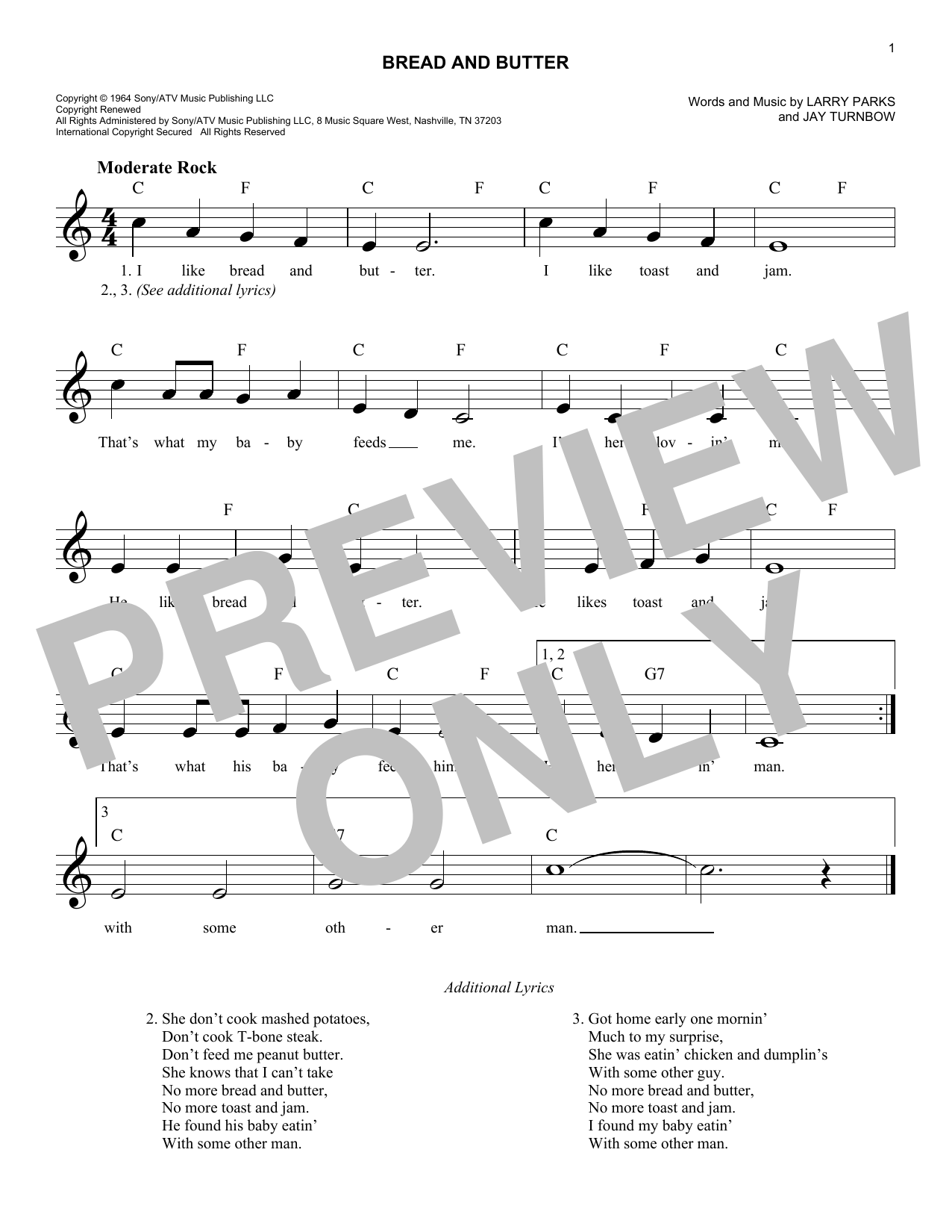 Bread And Butter (Lead Sheet / Fake Book)