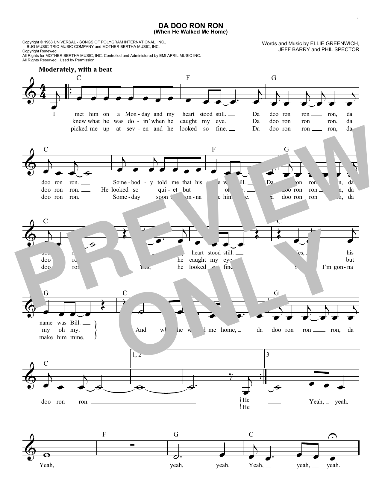 Da Doo Ron Ron (When He Walked Me Home) Sheet Music