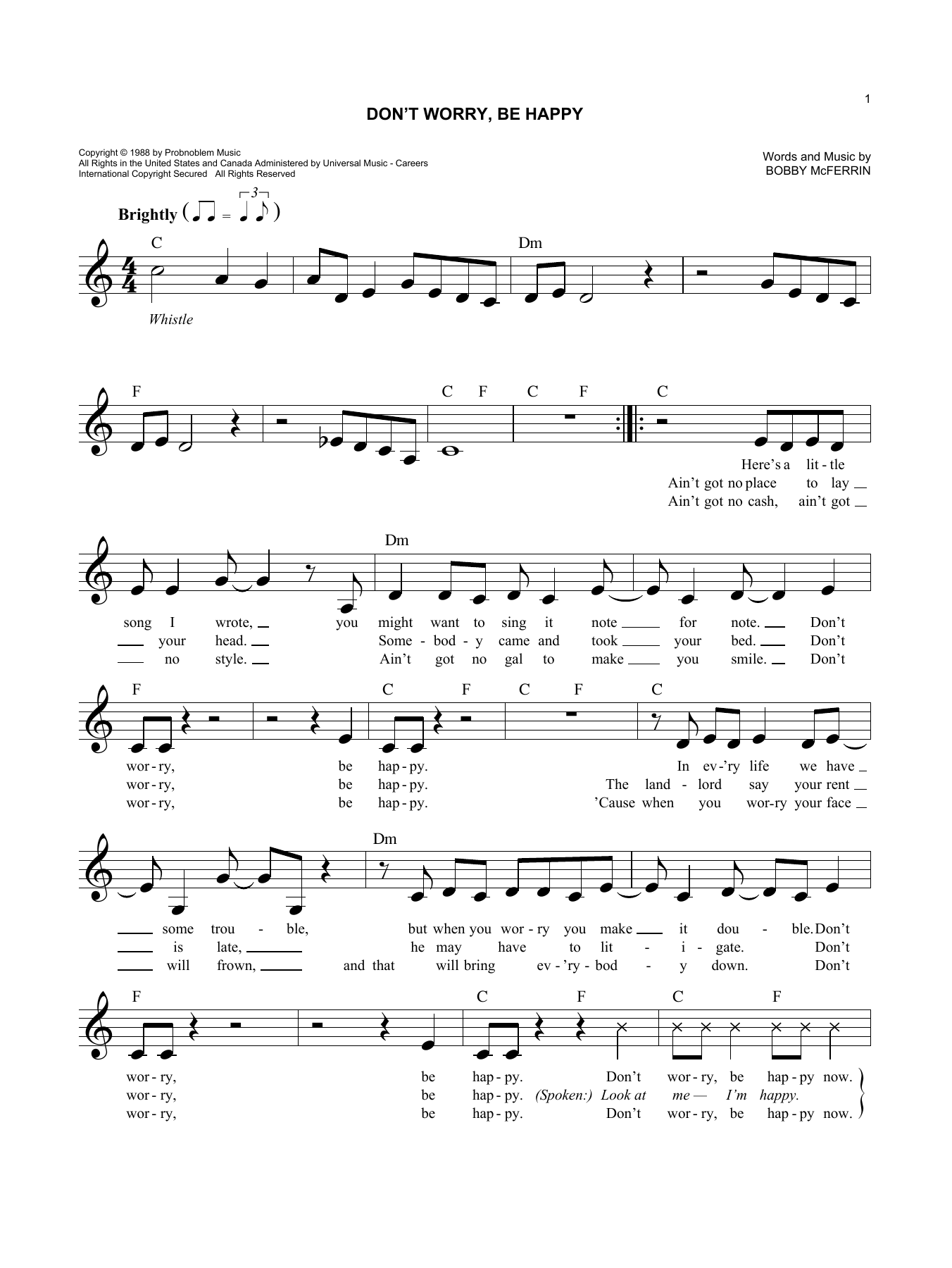 Don't Worry, Be Happy (Lead Sheet / Fake Book)