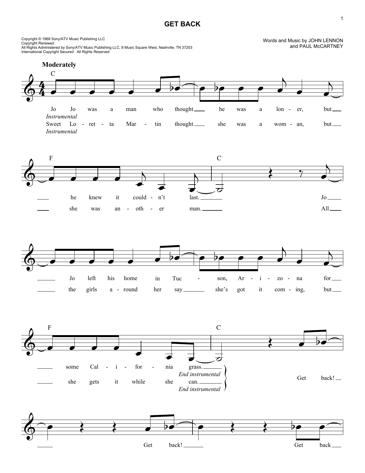 Get Back (Lead Sheet / Fake Book)