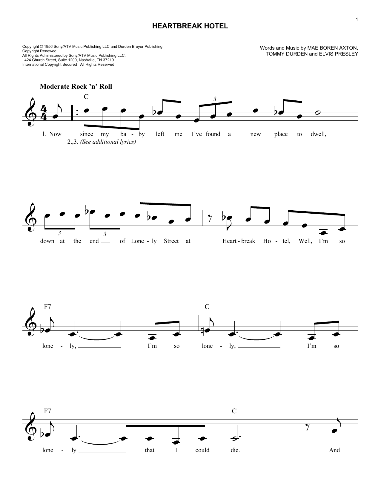 Heartbreak Hotel (Lead Sheet / Fake Book)