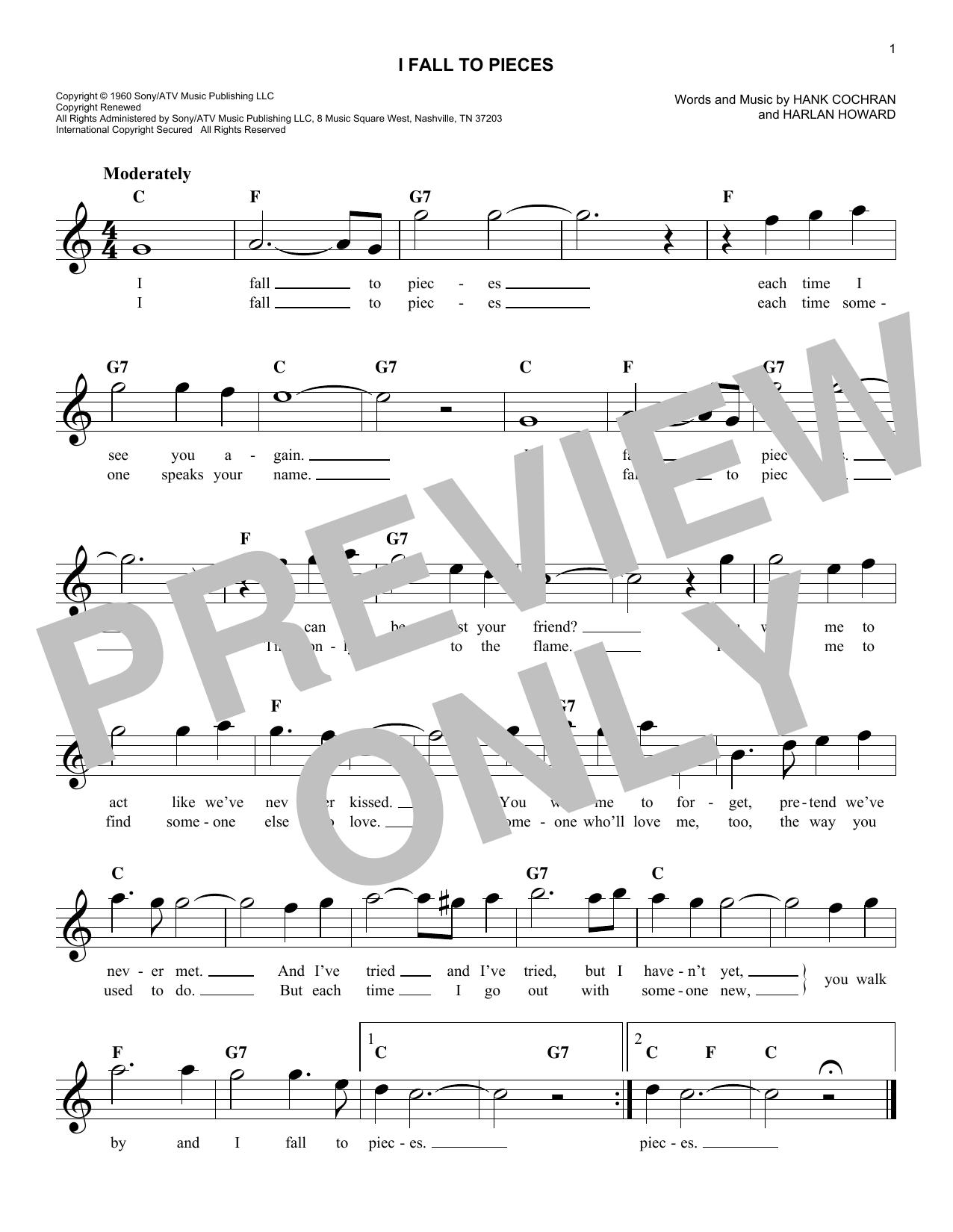 I Fall To Pieces Sheet Music