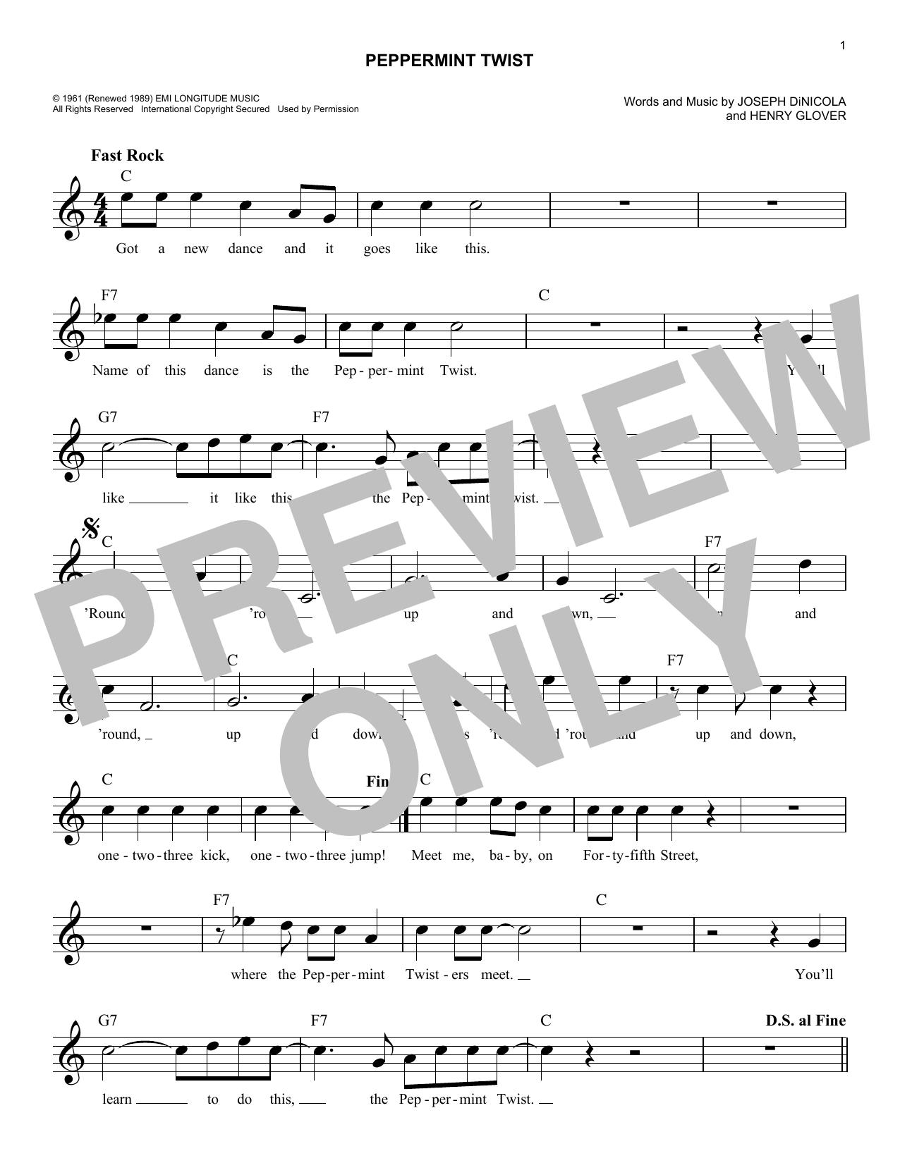 Peppermint Twist (Lead Sheet / Fake Book)