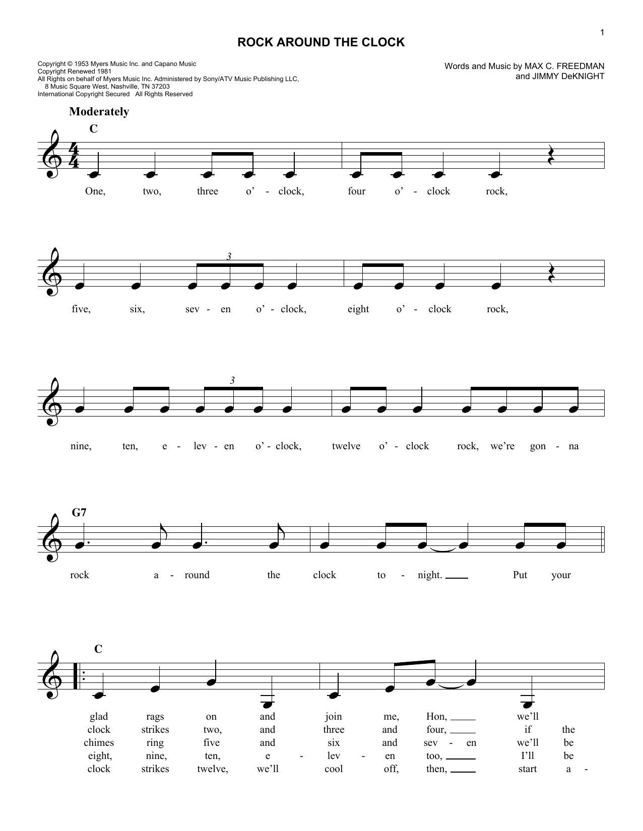 Rock Around The Clock (Lead Sheet / Fake Book)