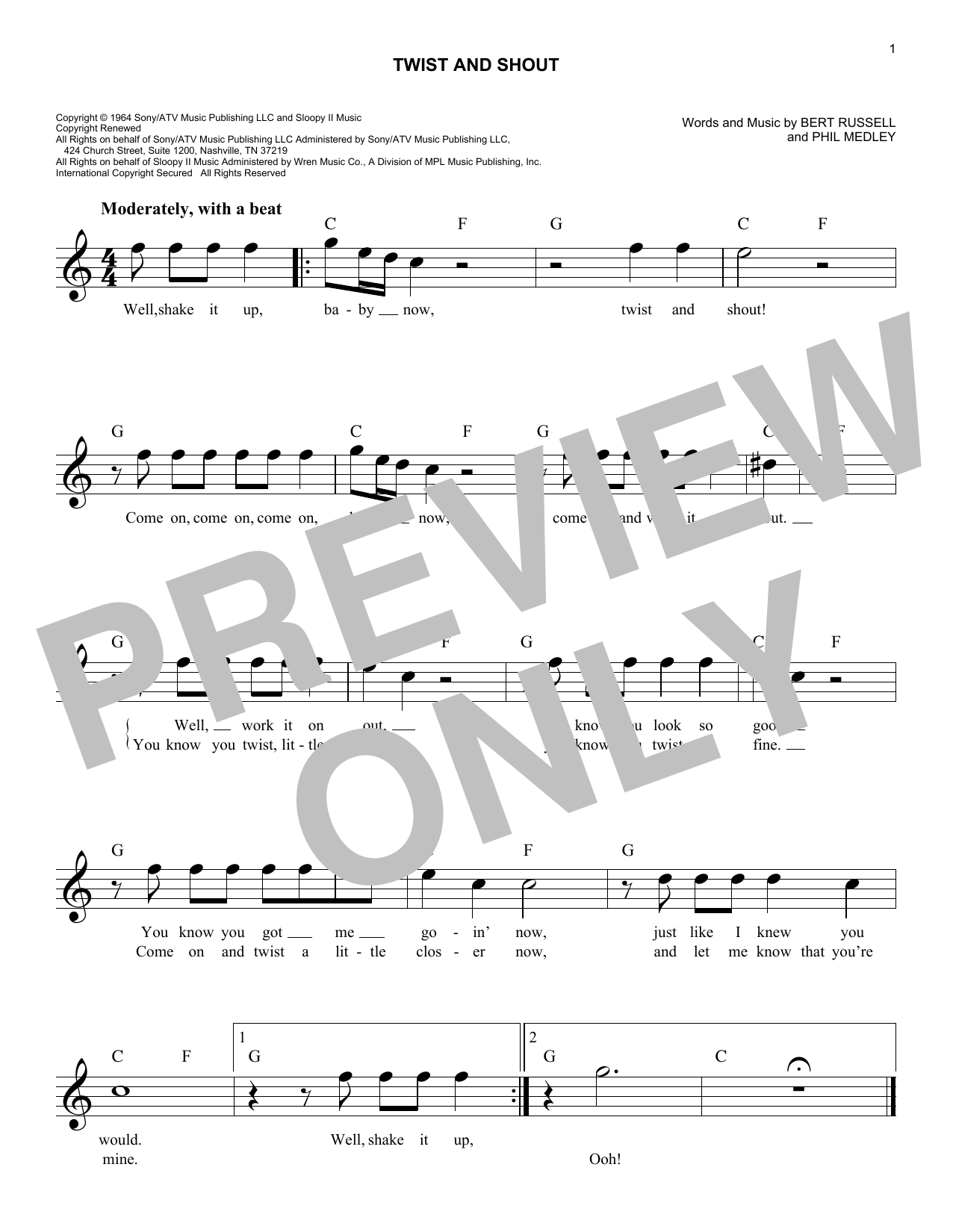 Twist And Shout Sheet Music The Beatles Melody Line Lyrics Chords