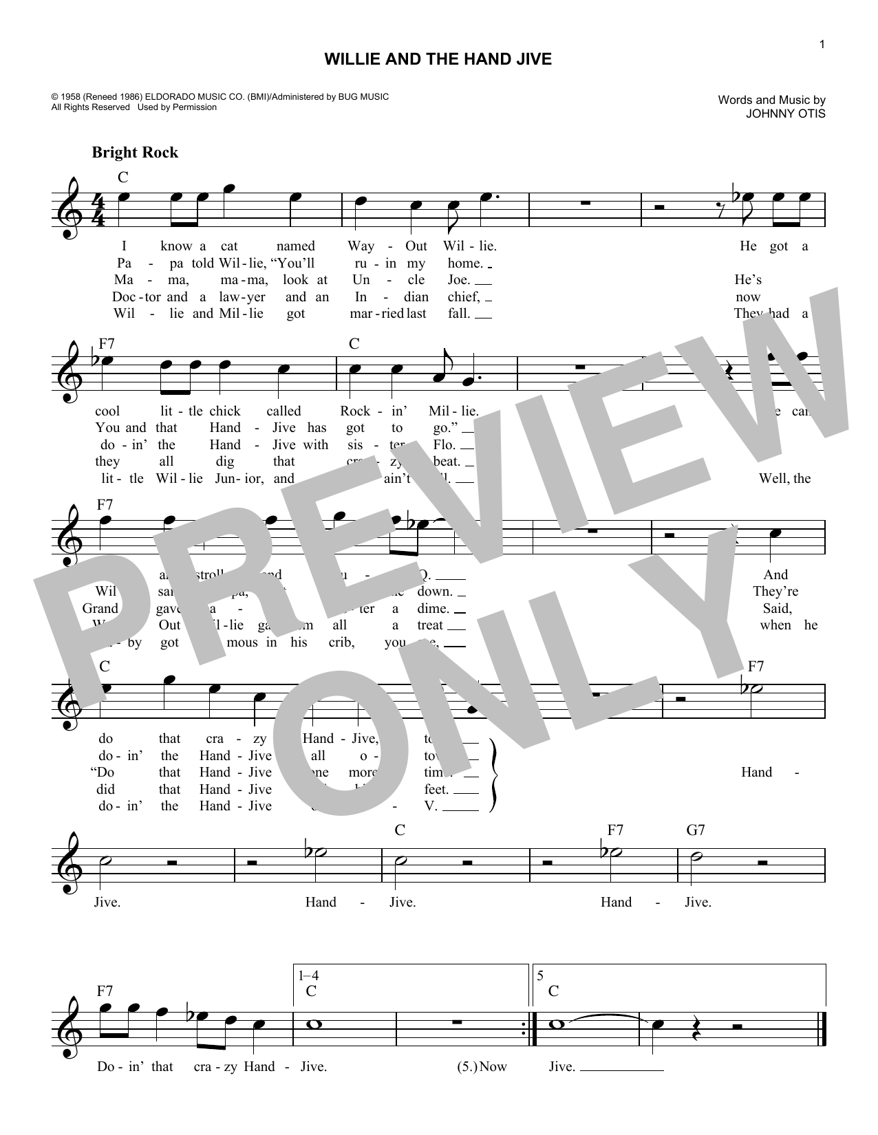 Willie And The Hand Jive (Lead Sheet / Fake Book)