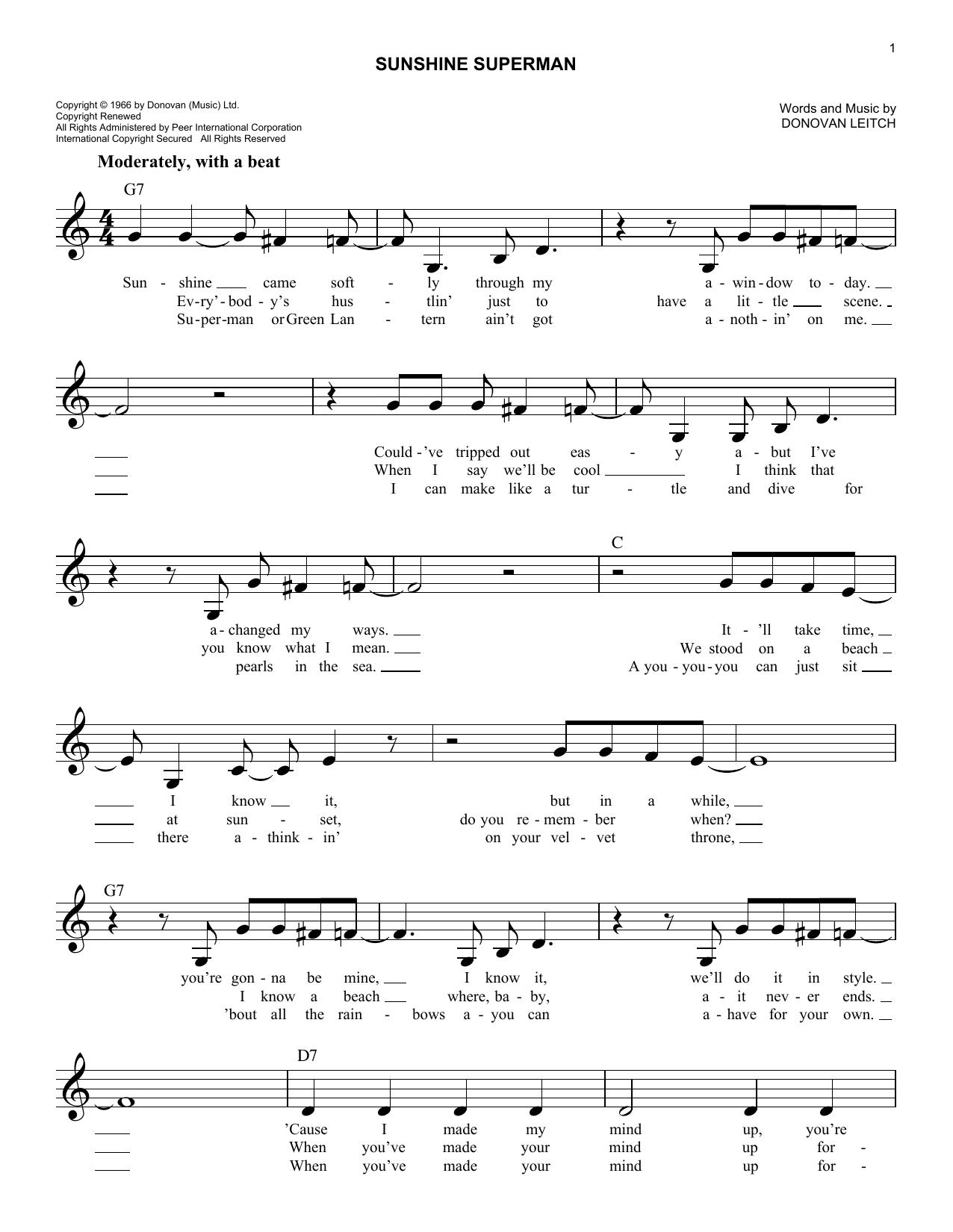 Sunshine Superman Donovan Melody Line Lyrics Chords