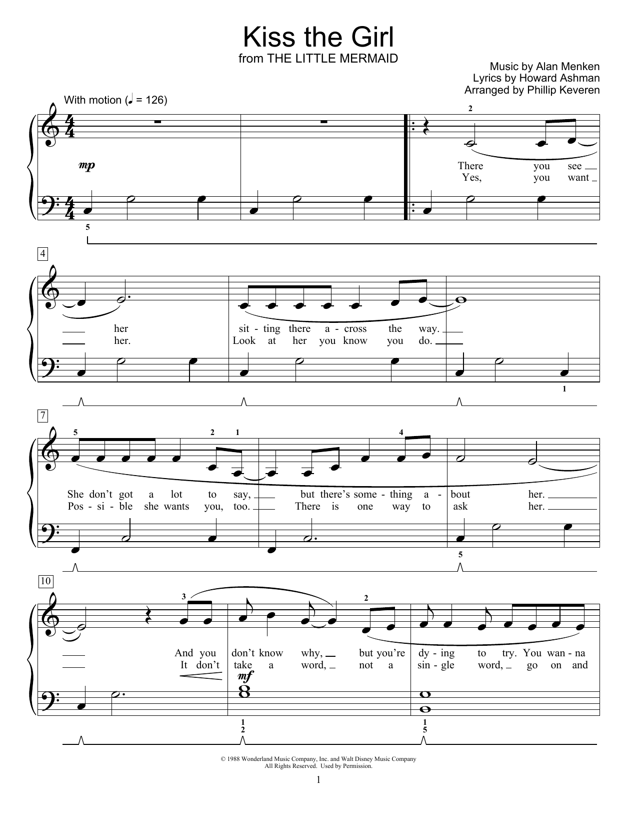 Kiss The Girl (from The Little Mermaid) (arr. Phillip Keveren) (Educational Piano)