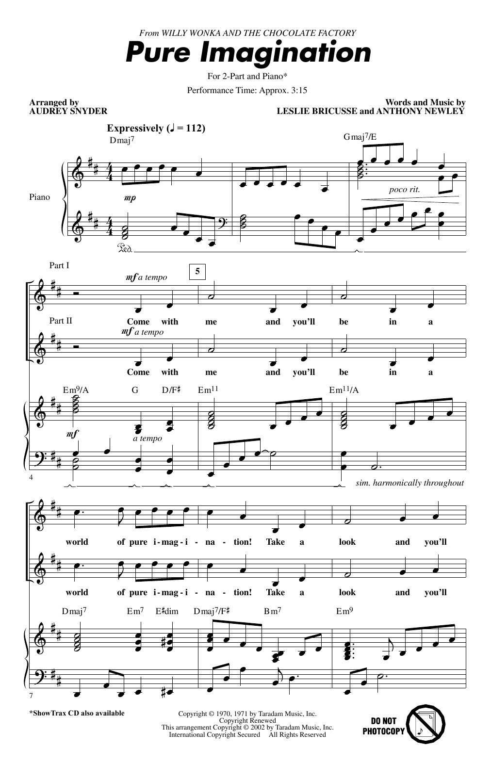 Pure Imagination (from Willy Wonka & The Chocolate Factory) (arr. Audrey Snyder) Sheet Music