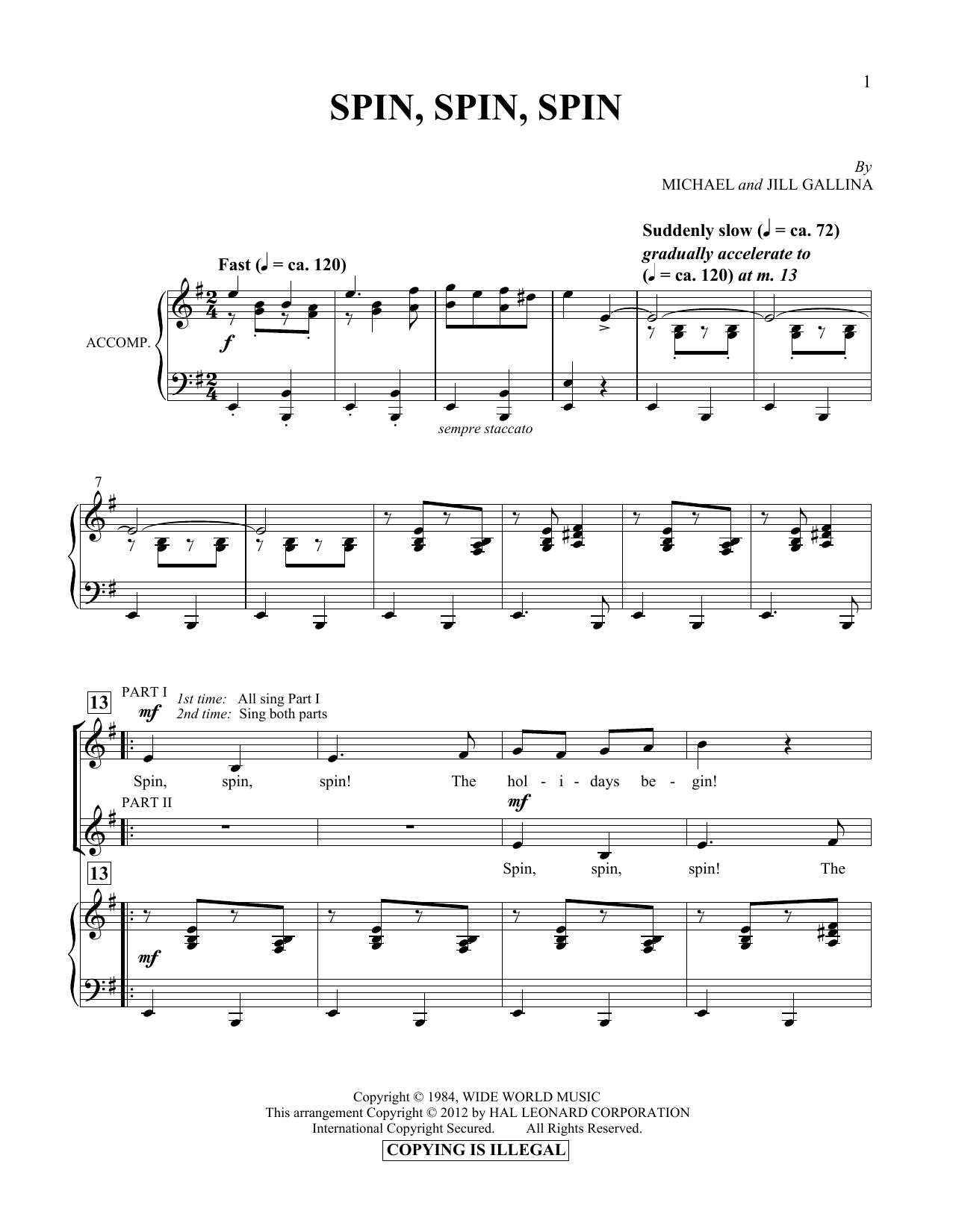 Spin, Spin, Spin Sheet Music