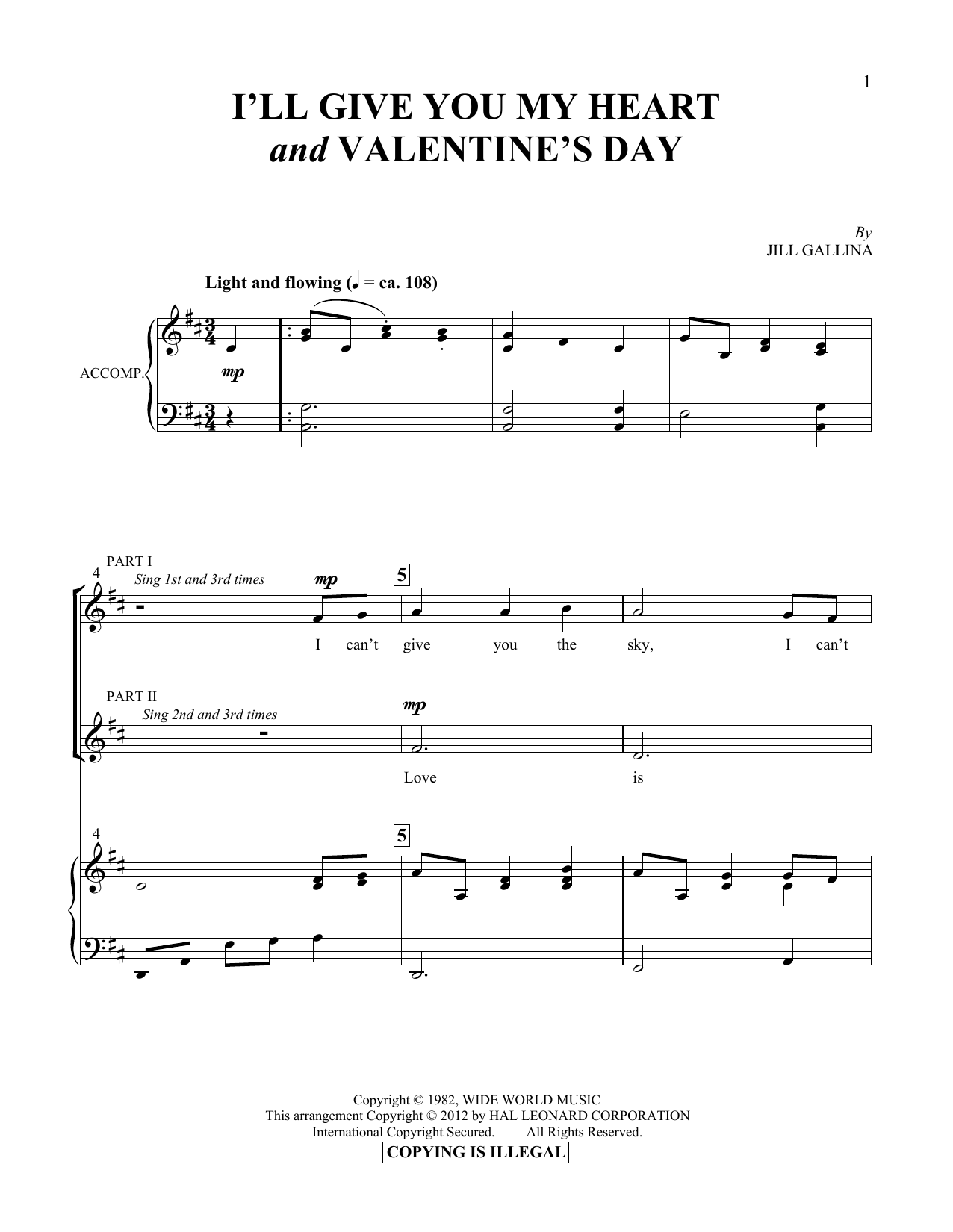 I'll Give You My Heart & Valentine's Day Sheet Music