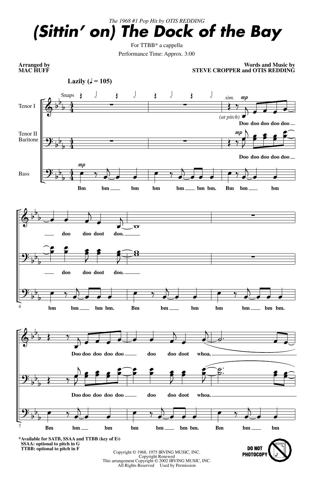 (Sittin' On) The Dock Of The Bay (arr. Mac Huff) (TTBB Choir)