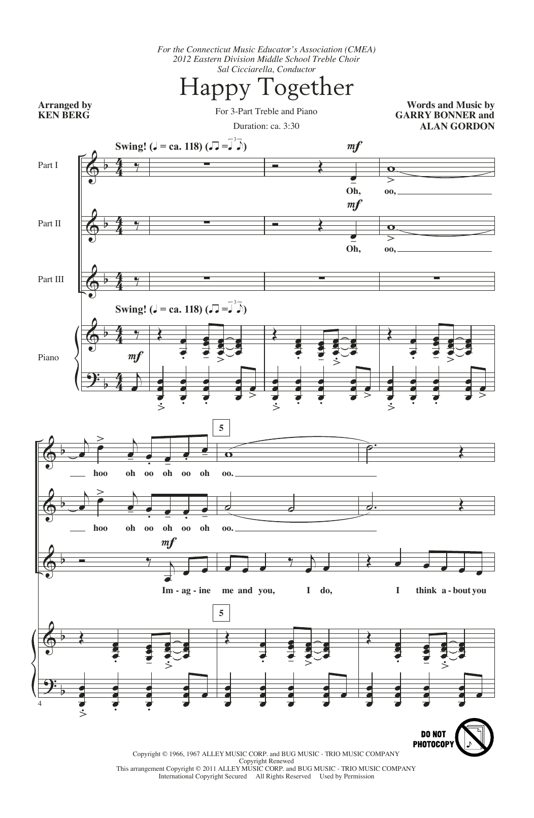 Happy Together (arr. Ken Berg) (3-Part Treble Choir)