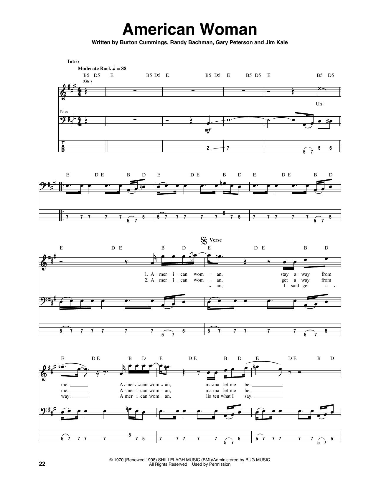 American Woman (Bass Guitar Tab)