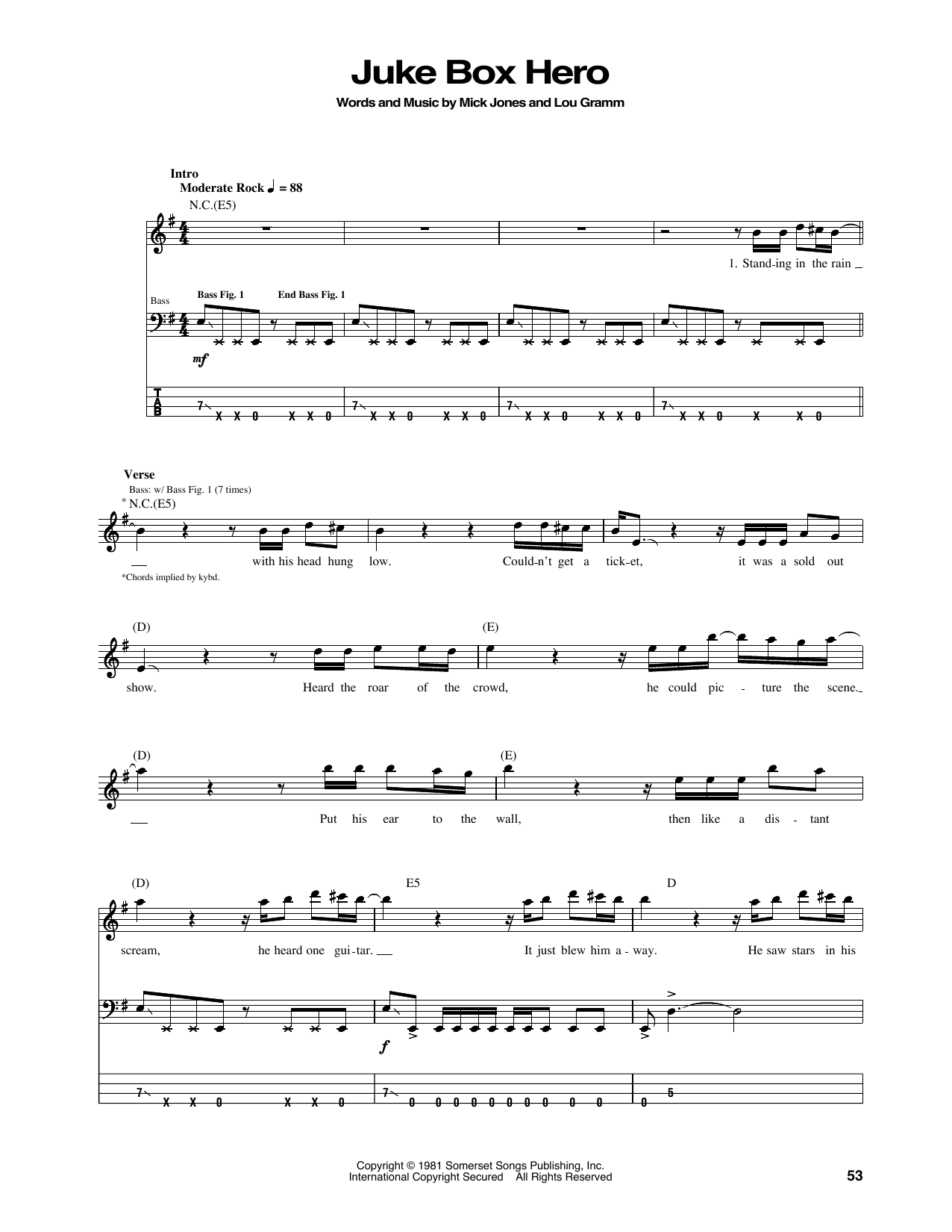 Juke Box Hero Sheet Music Foreigner Bass Guitar Tab