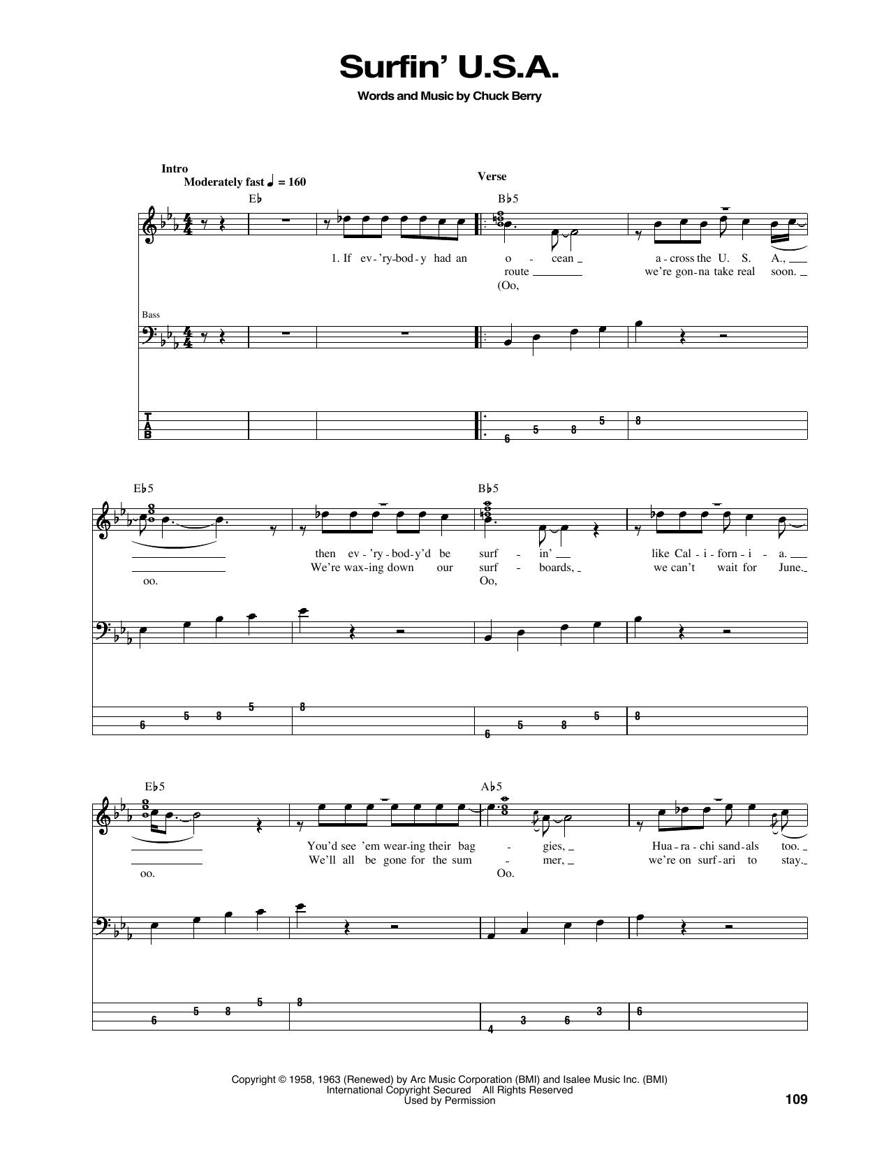 Surfin' U.S.A. (Bass Guitar Tab)