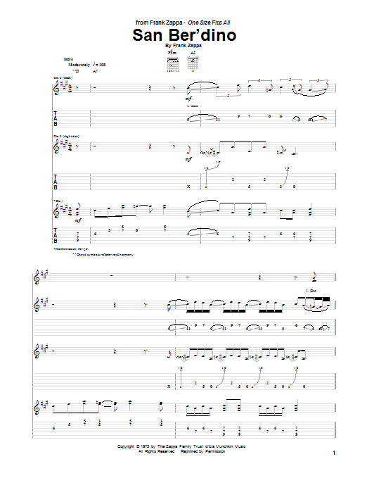 Tablature guitare San Ber'dino de Frank Zappa - Tablature Guitare
