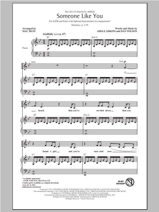 Partition chorale Someone Like You de Adele - SATB