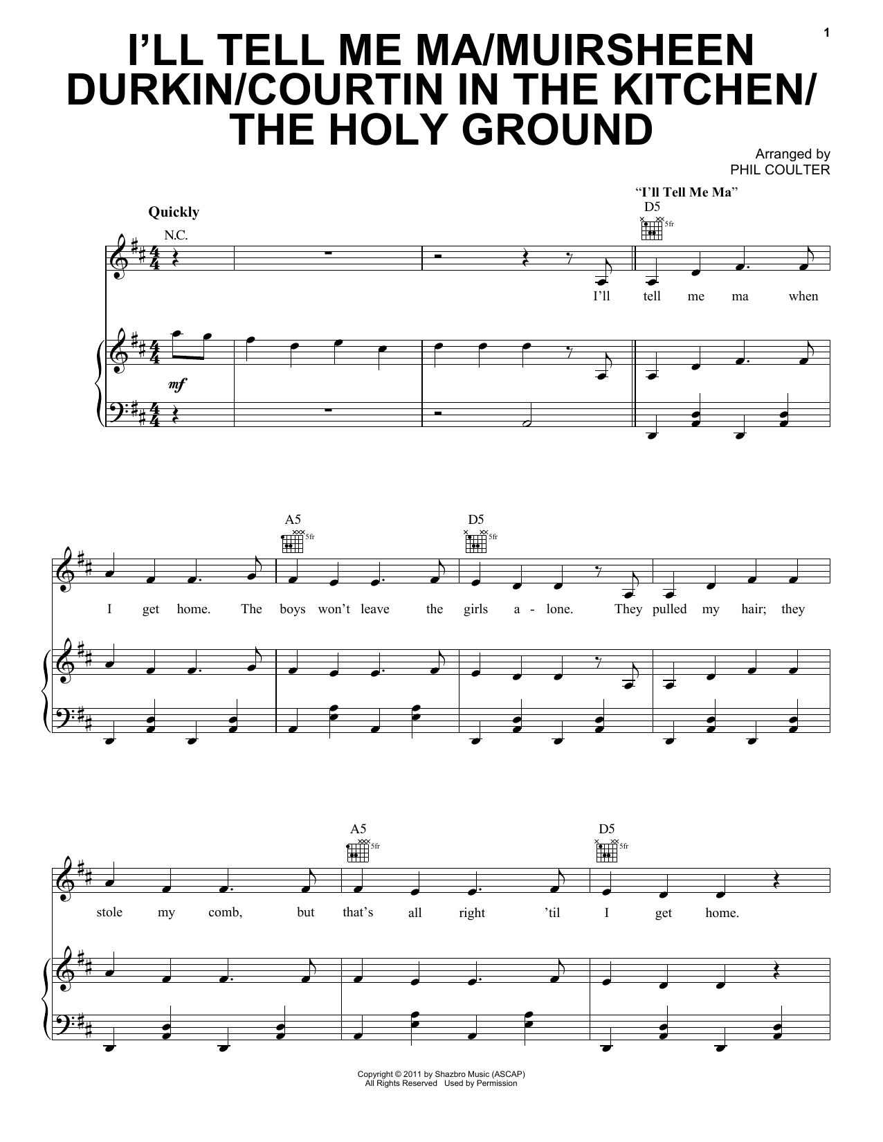 I'll Tell Me Ma/Muirsheen Durkin/Courtin In The Kitchen/The Holy Ground Sheet Music