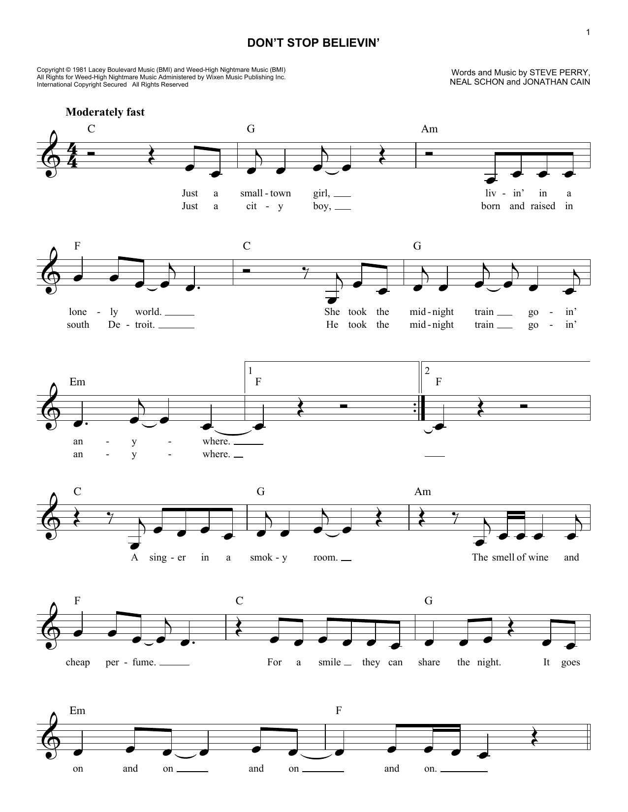 Dont Stop Believin Sheet Music Journey Melody Line Lyrics