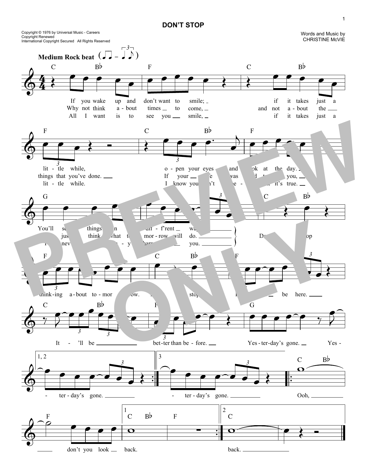Don't Stop (Lead Sheet / Fake Book)