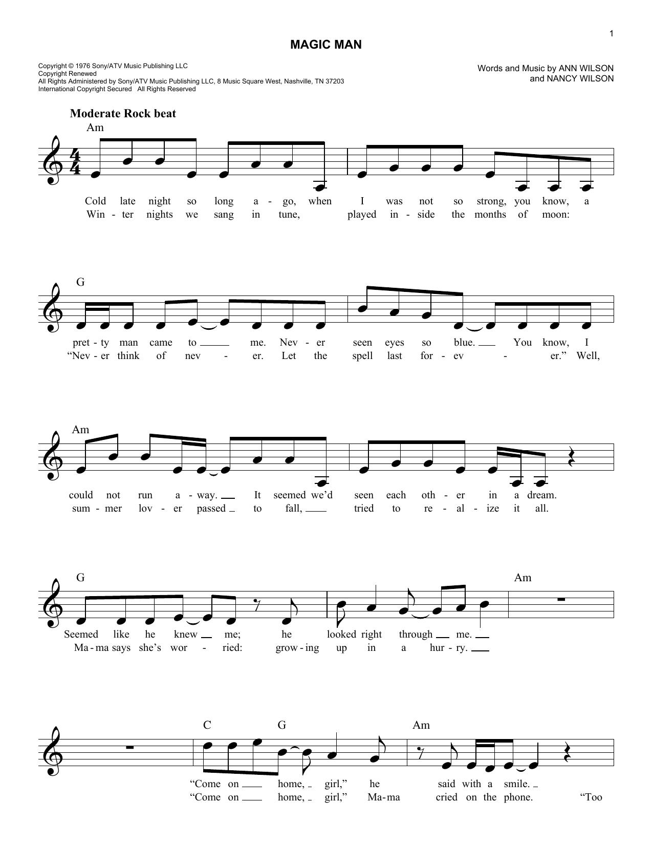 Magic Man Sheet Music