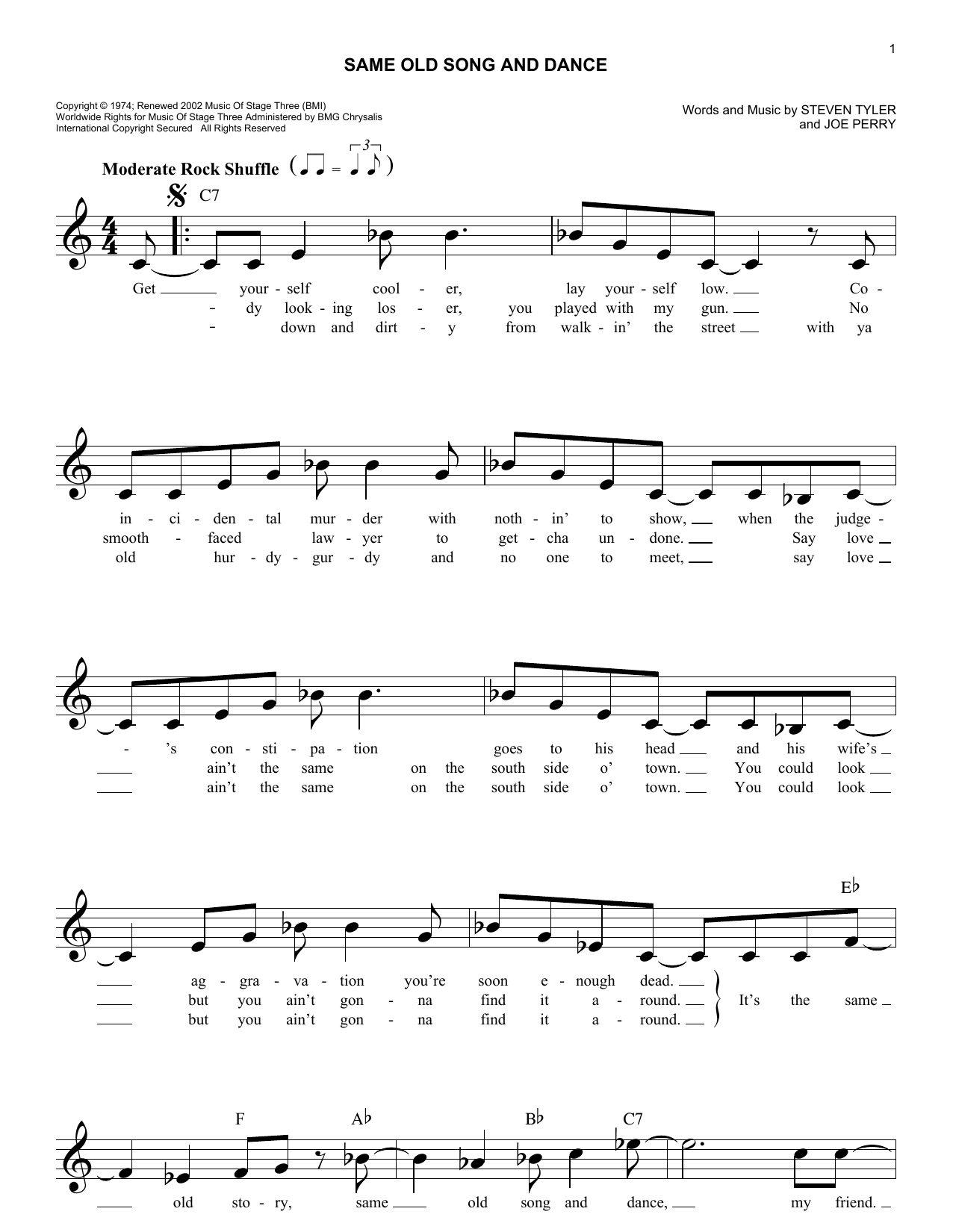 Same Old Song And Dance (Lead Sheet / Fake Book)