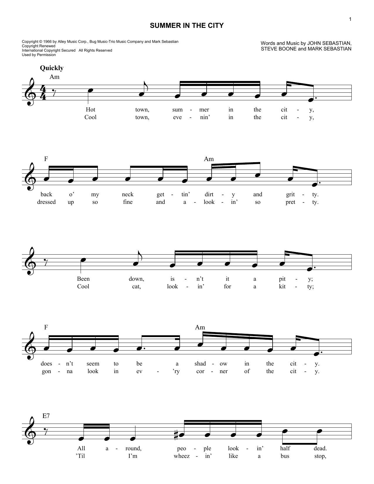 Summer In The City Sheet Music