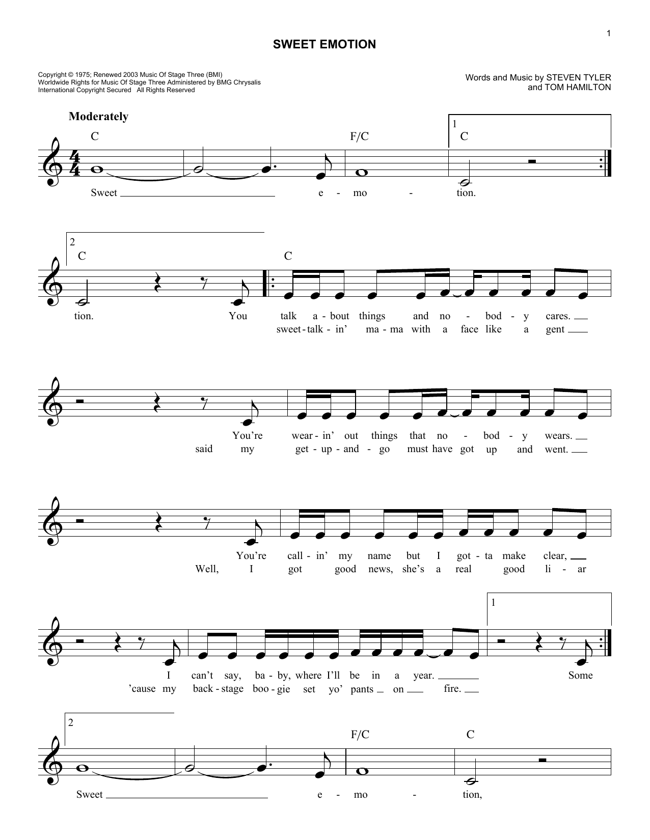 Sweet Emotion by Aerosmith Piano, Vocal & Guitar (Right-Hand Melody)  Digital Sheet Music