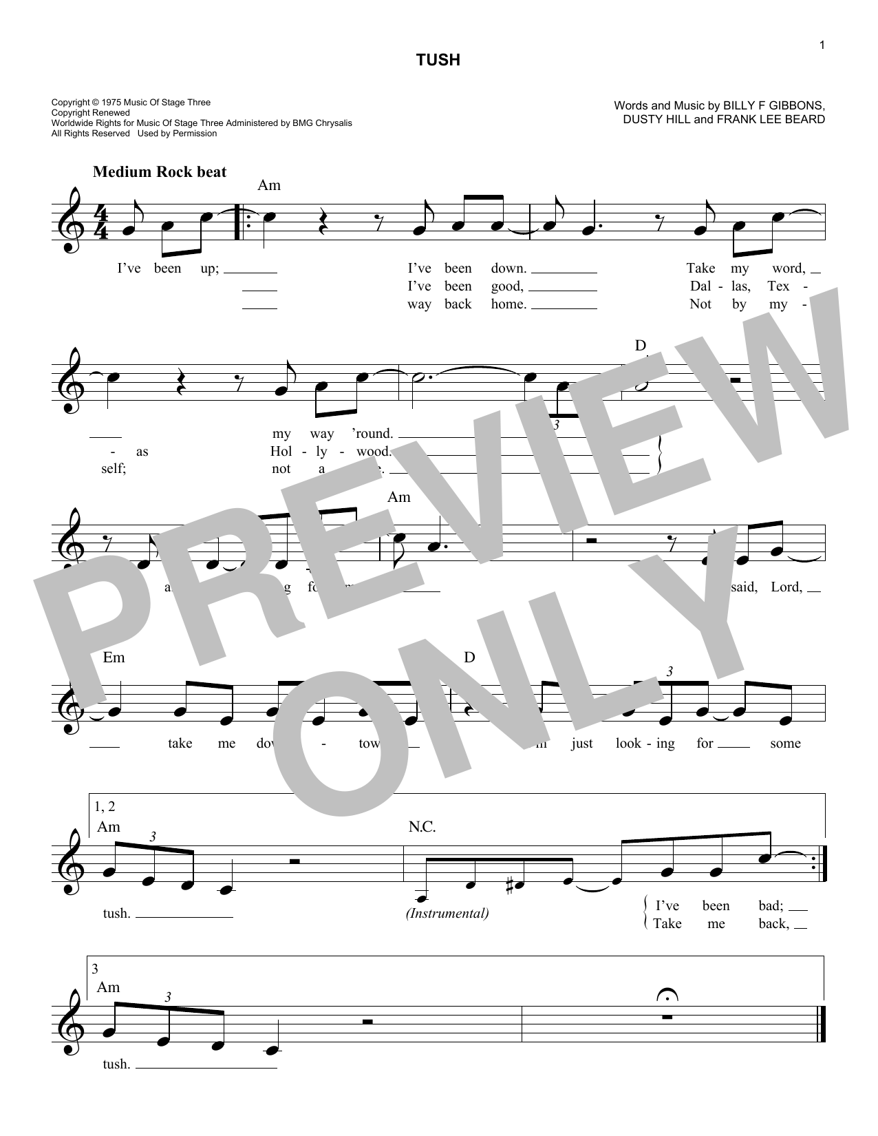 Tush Sheet Music