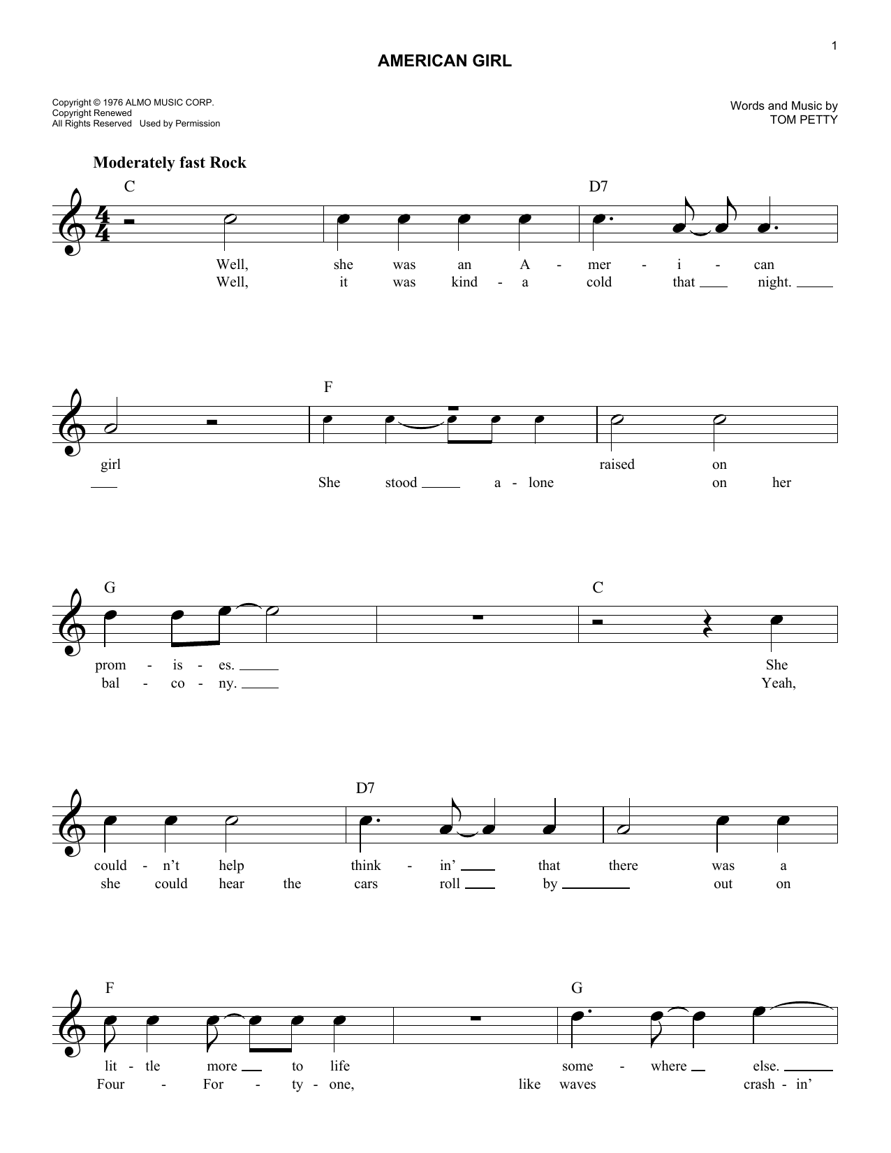 American Girl (Lead Sheet / Fake Book)