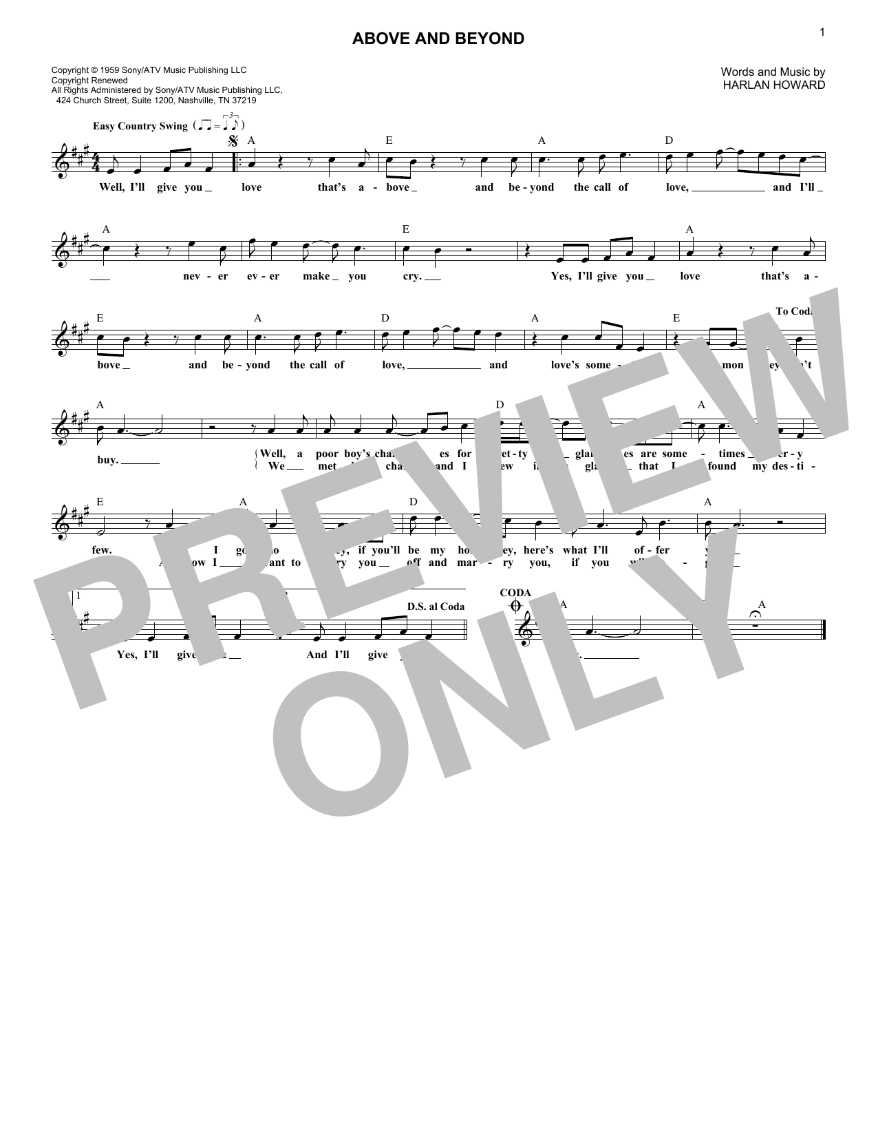 Above And Beyond (Lead Sheet / Fake Book)