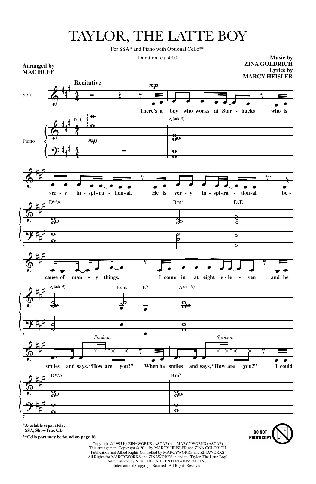 Taylor, The Latte Boy (arr. Mac Huff) Sheet Music