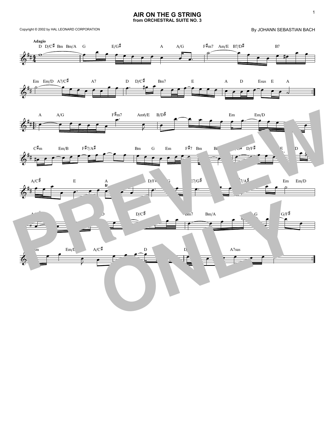 Air (Air On The G String) (Lead Sheet / Fake Book)