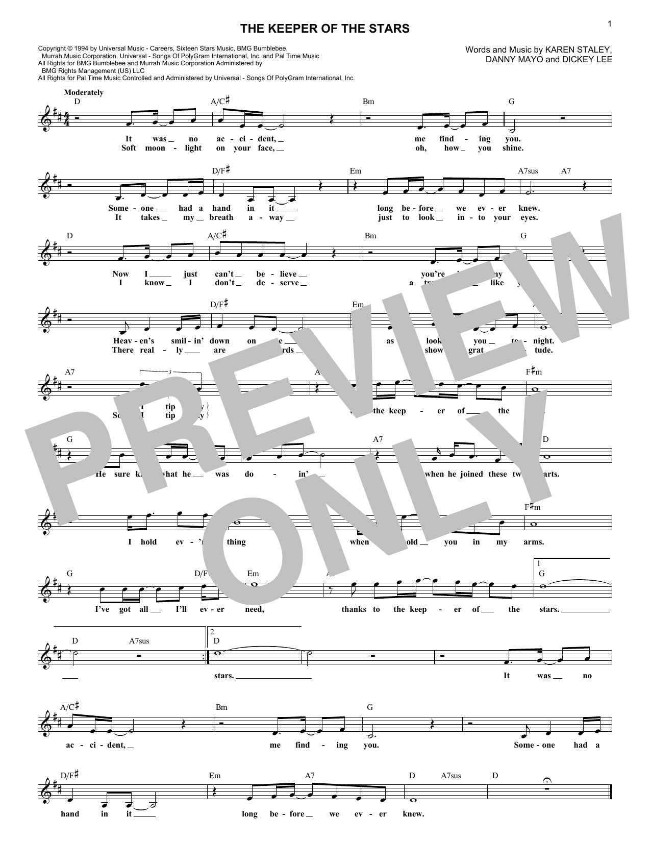 The Keeper Of The Stars (Lead Sheet / Fake Book)