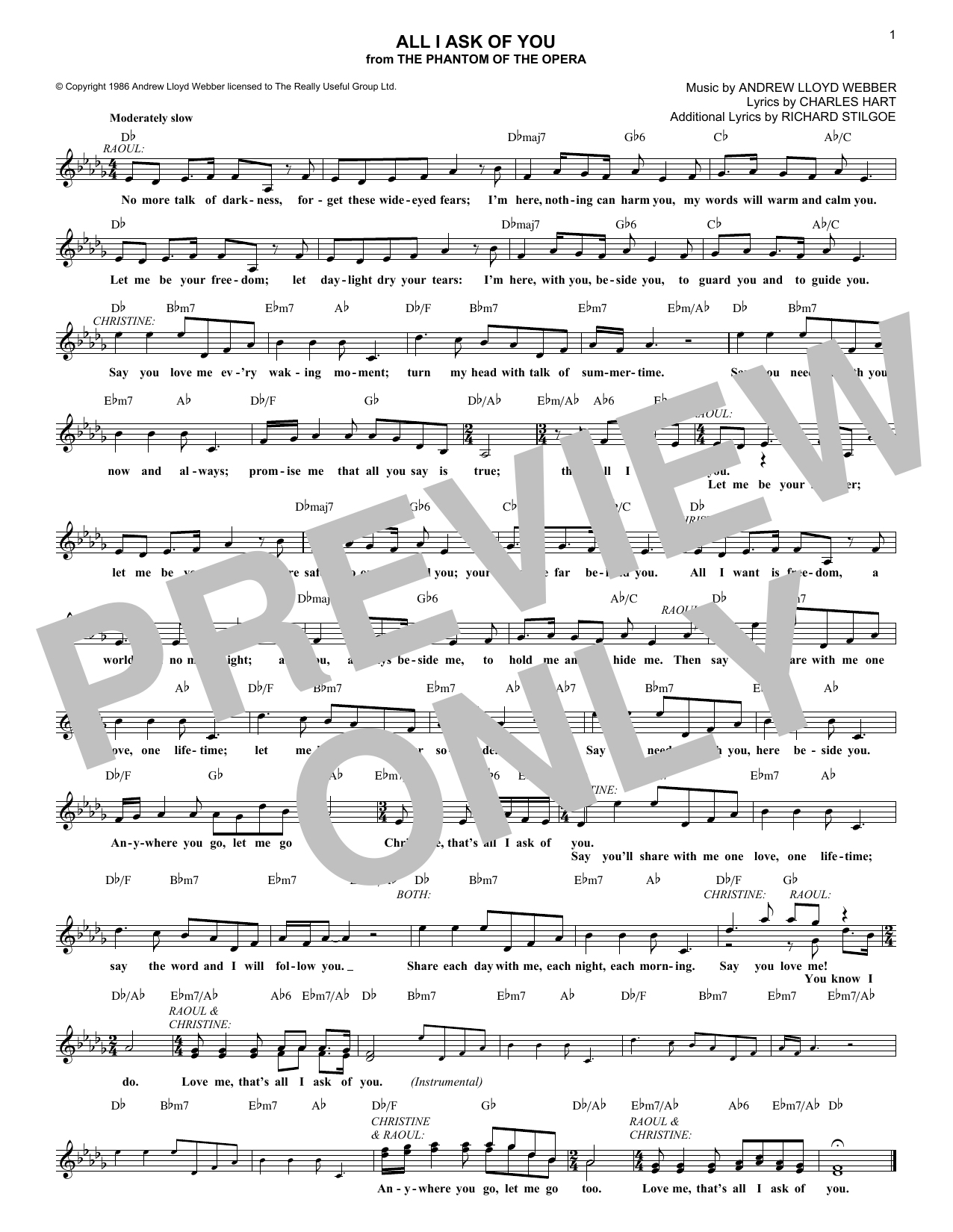 All I Ask Of You (Lead Sheet / Fake Book)