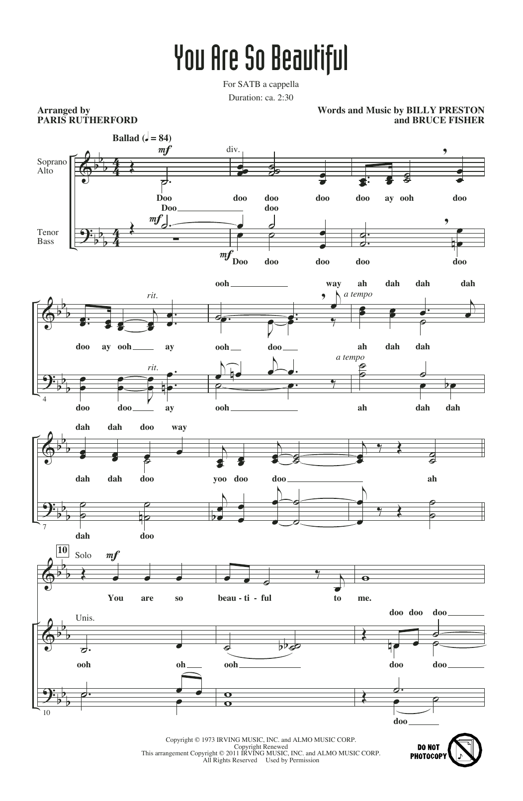 You Are So Beautiful (arr. Paris Rutherford) (SATB Choir)