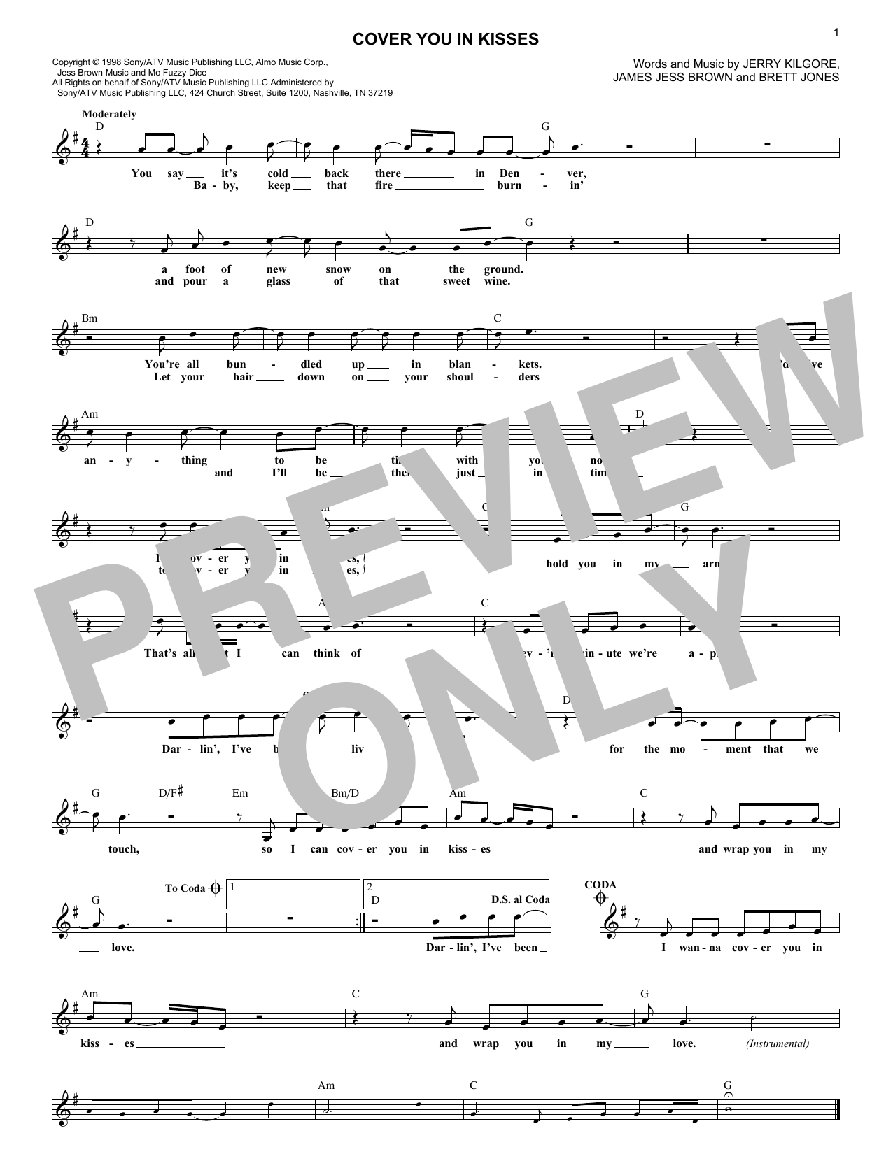 Cover You In Kisses (Lead Sheet / Fake Book)