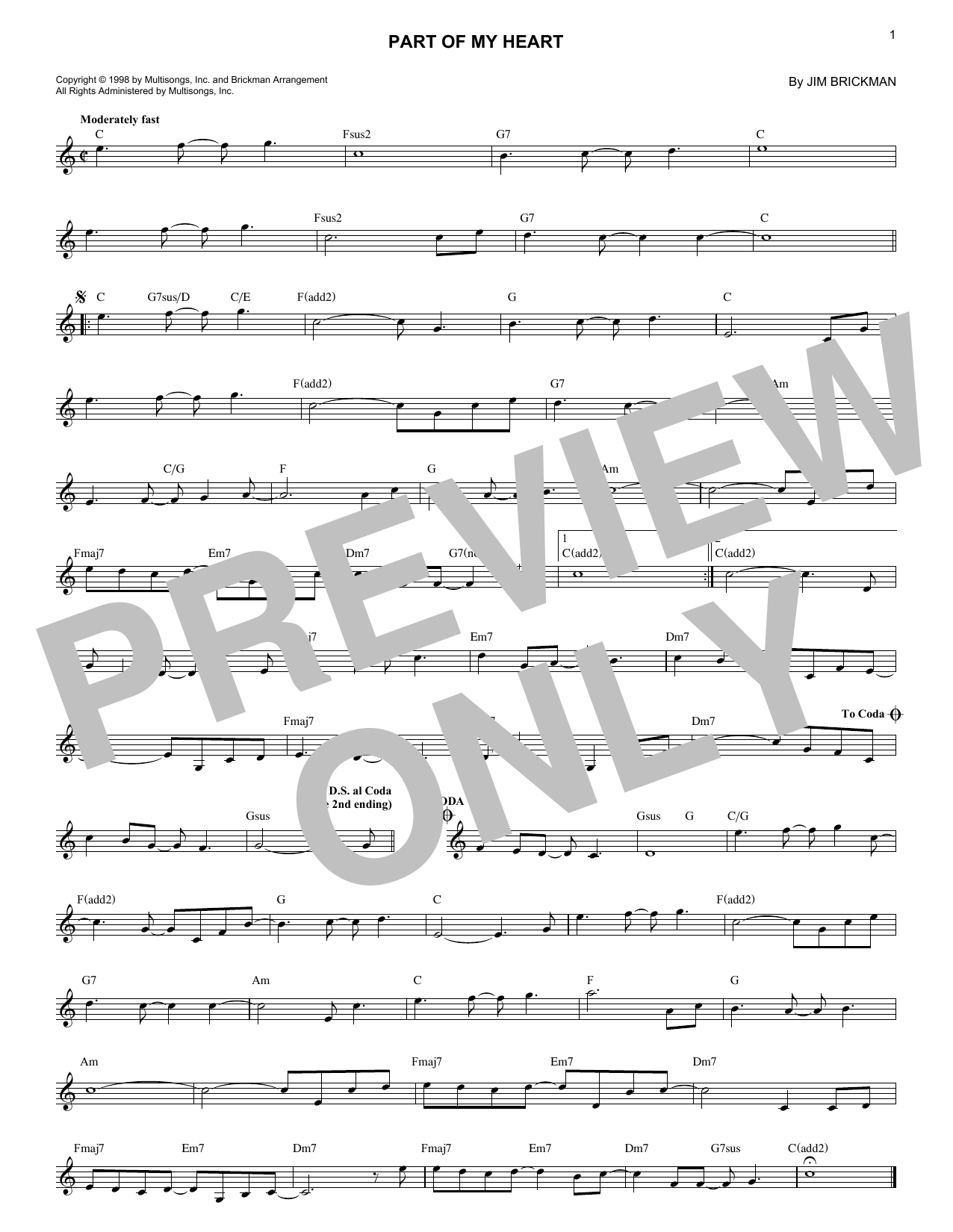 Part Of My Heart (Lead Sheet / Fake Book)