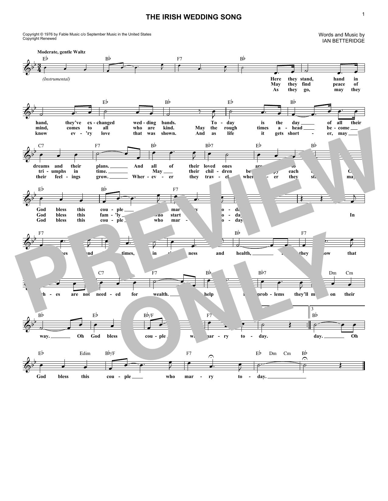 The Irish Wedding Song (Lead Sheet / Fake Book)