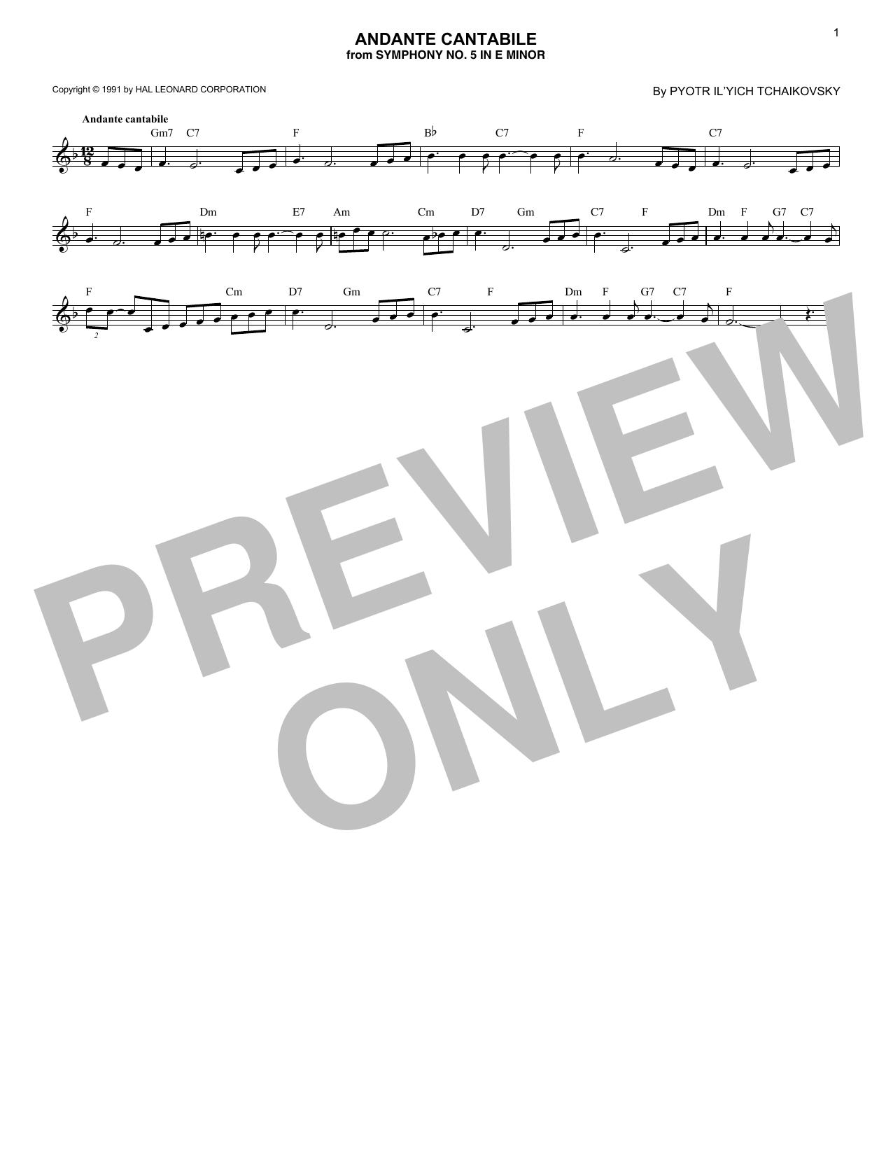 Andante Cantabile (Lead Sheet / Fake Book)