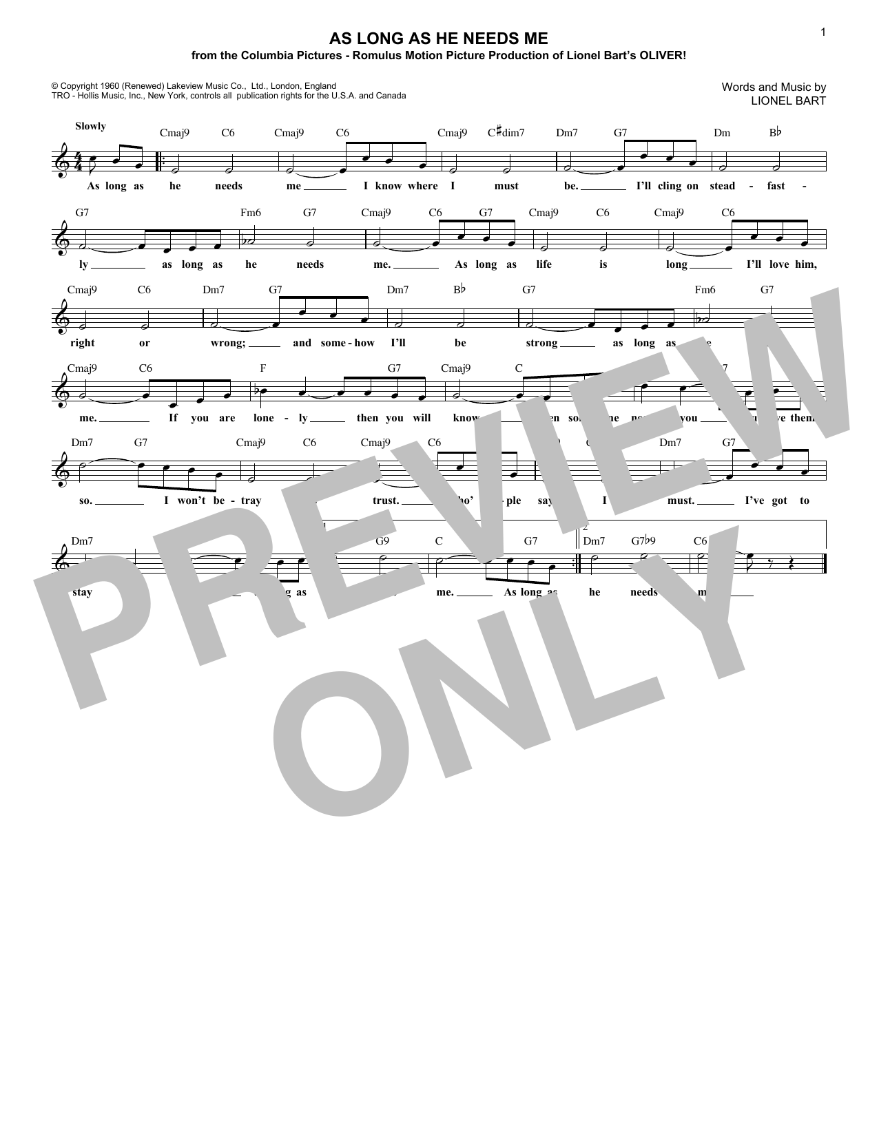 As Long As He Needs Me (Lead Sheet / Fake Book)