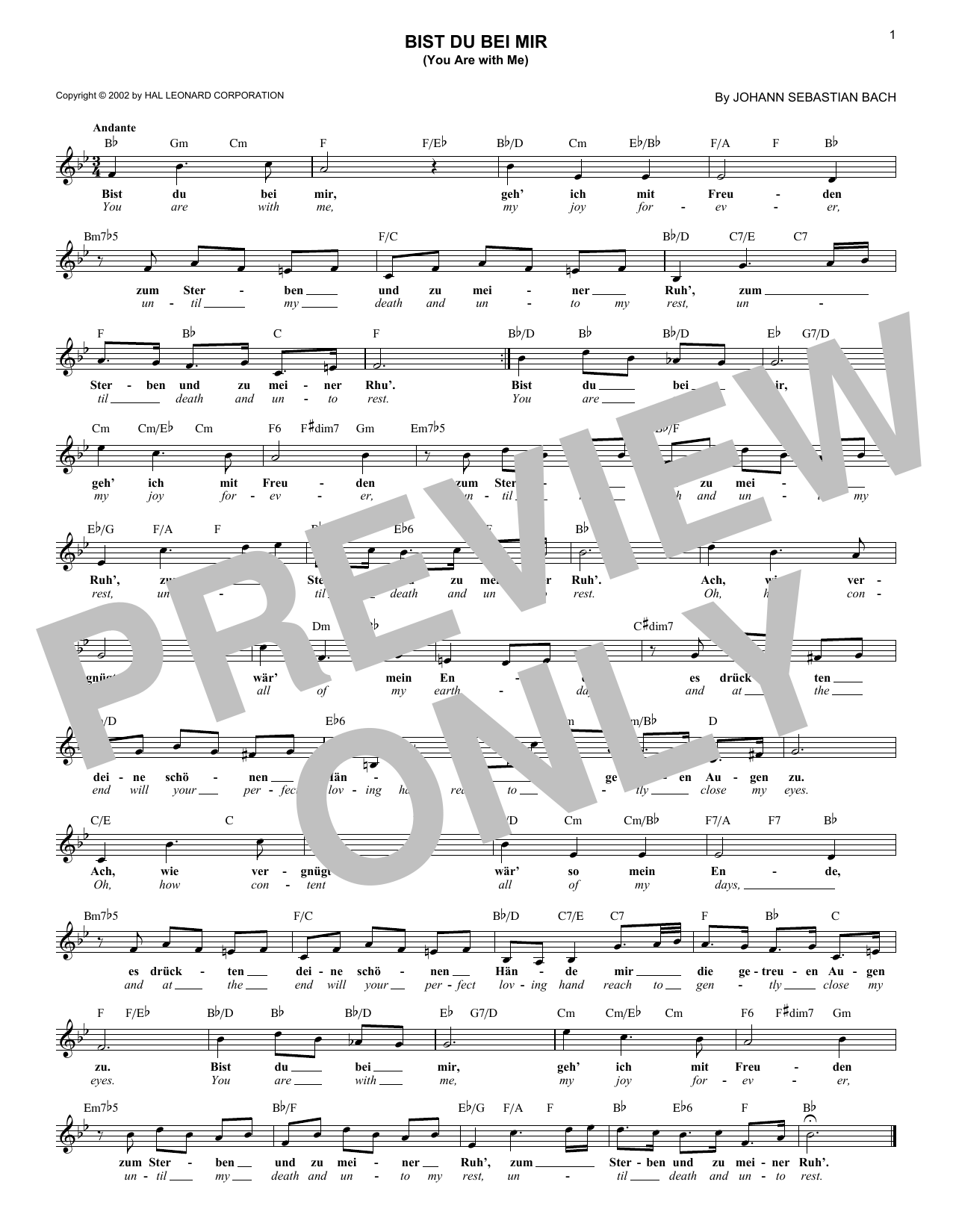 Bist du bei mir (You Are With Me) (Lead Sheet / Fake Book)