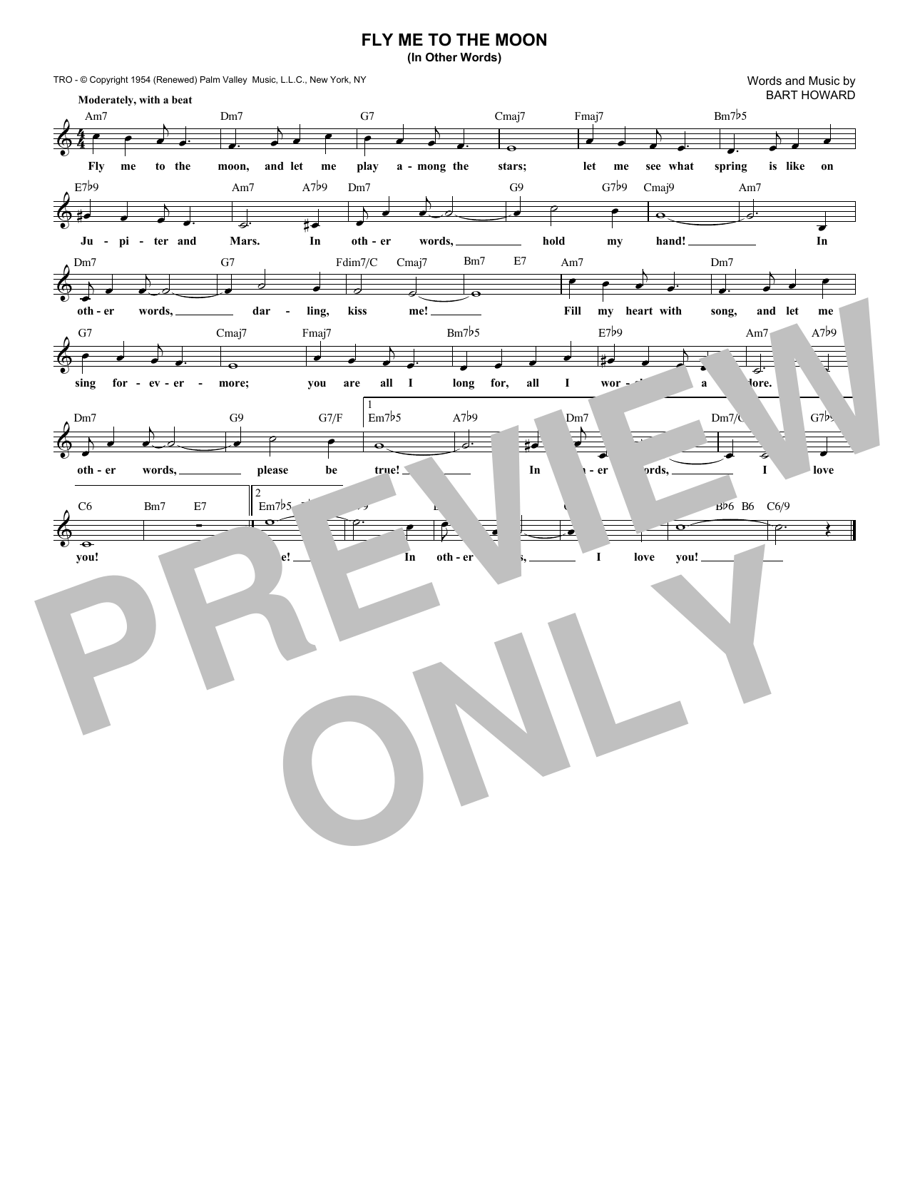 Fly Me To The Moon (In Other Words) (Lead Sheet / Fake Book)