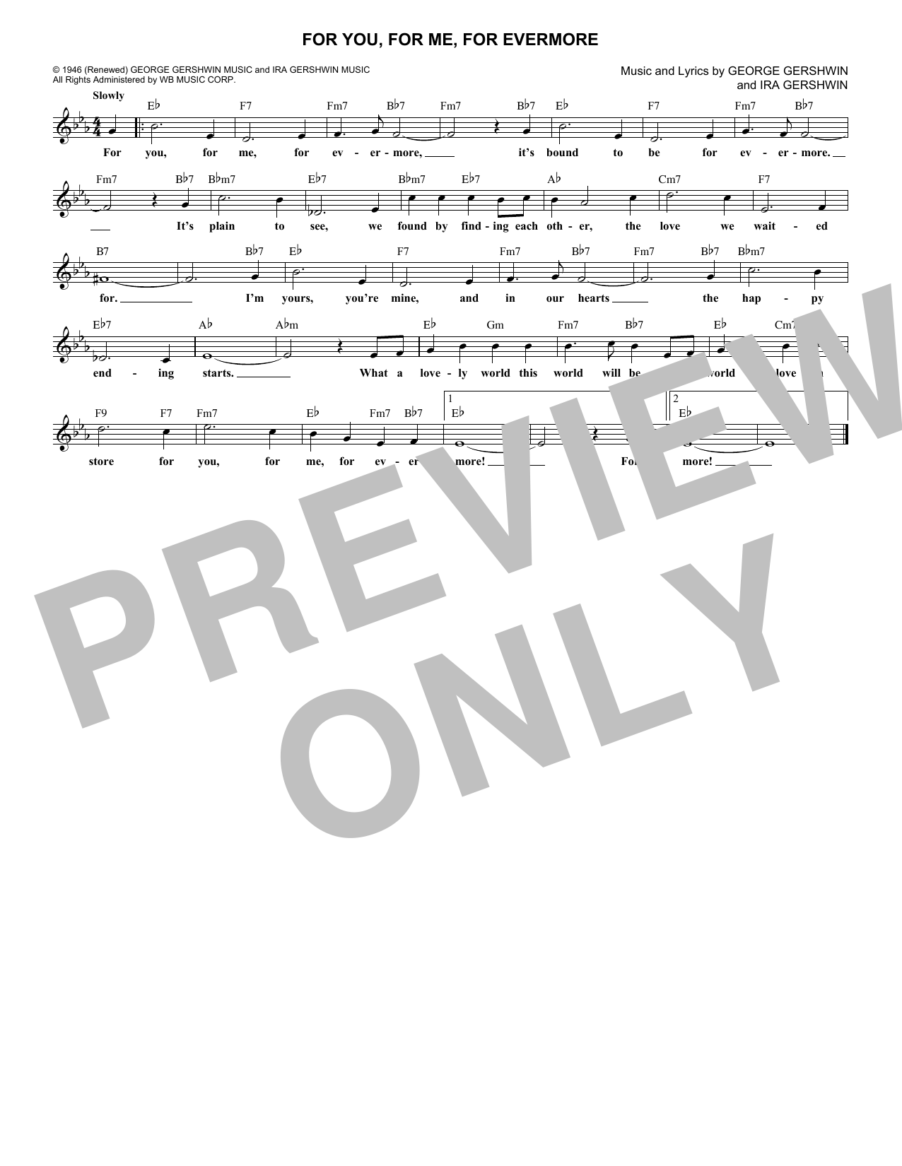 For You, For Me For Evermore (Lead Sheet / Fake Book)